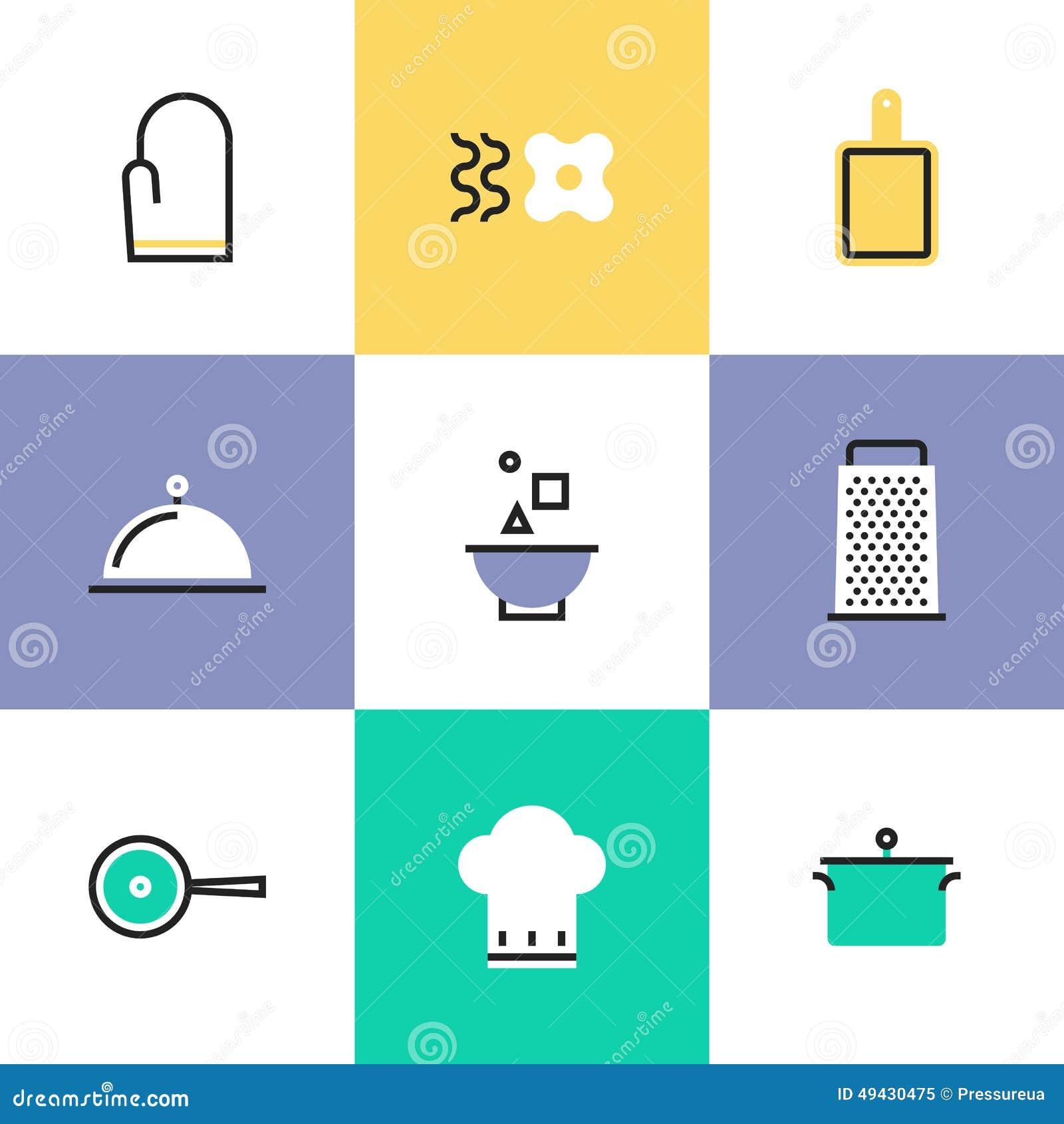 Ic nes de pictogramme d 39 ustensiles de cuisine r gl es illustration de vecteur image 49430475 - Pictogramme cuisine gratuit ...