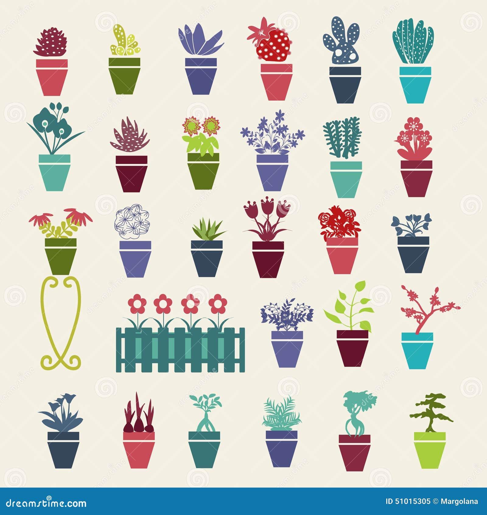 Icones De Plantes En Pot De Fleurs Et D Herbes De Jardin Reglees