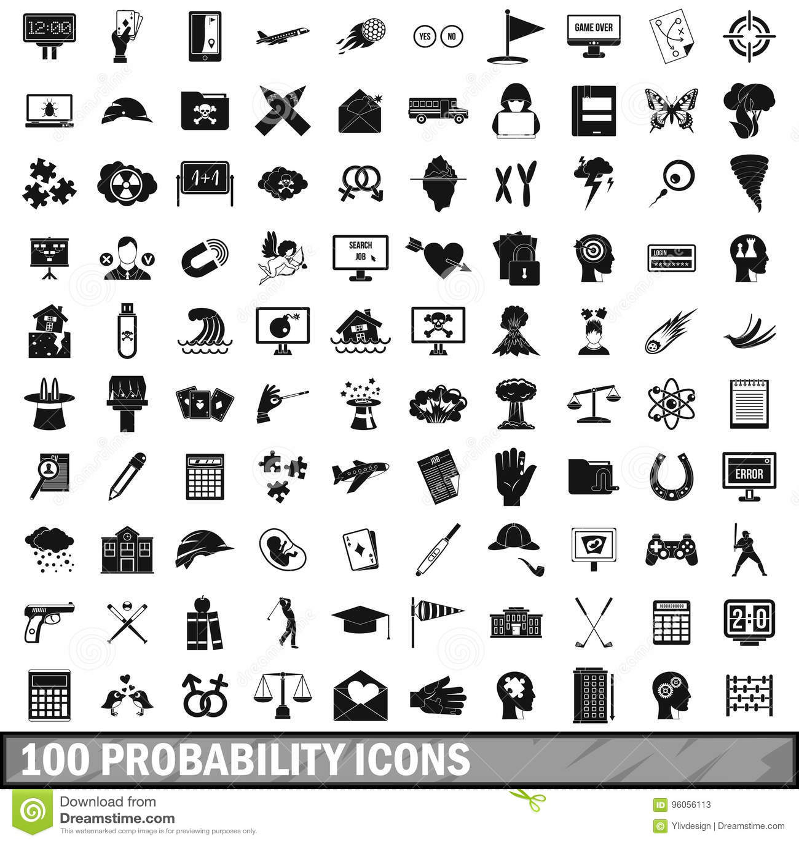 100 icônes de probabilité réglées, style simple