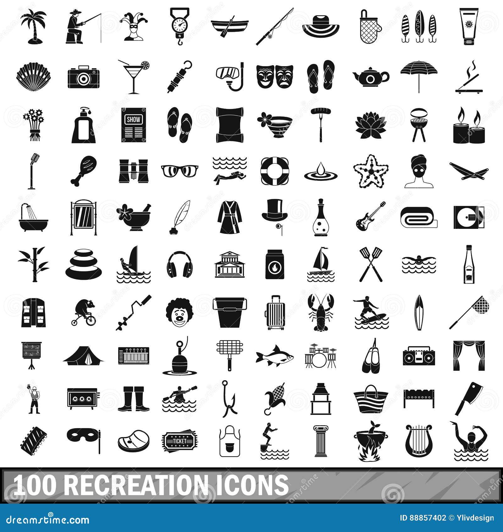 100 icônes de récréation réglées, style simple