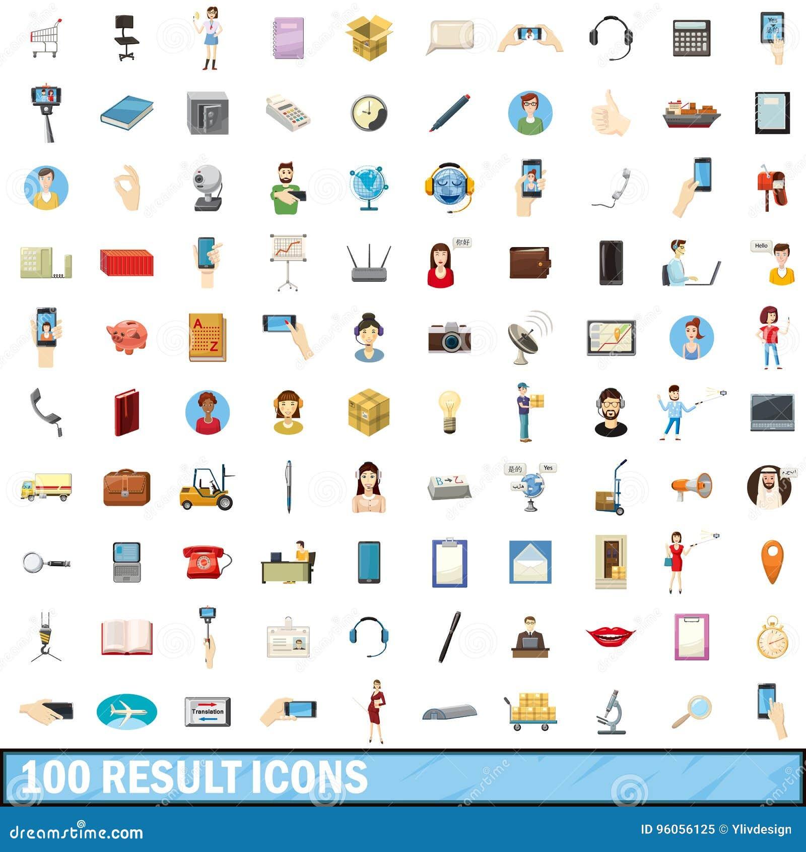 100 icônes de résultat réglées, style de bande dessinée