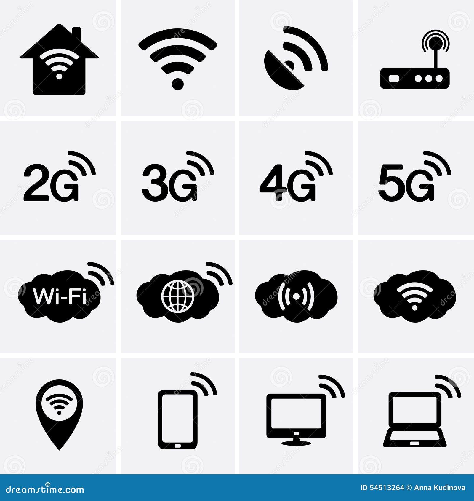 Icônes De Radio Et De Wifi Symboles De La Technologie 2G ...