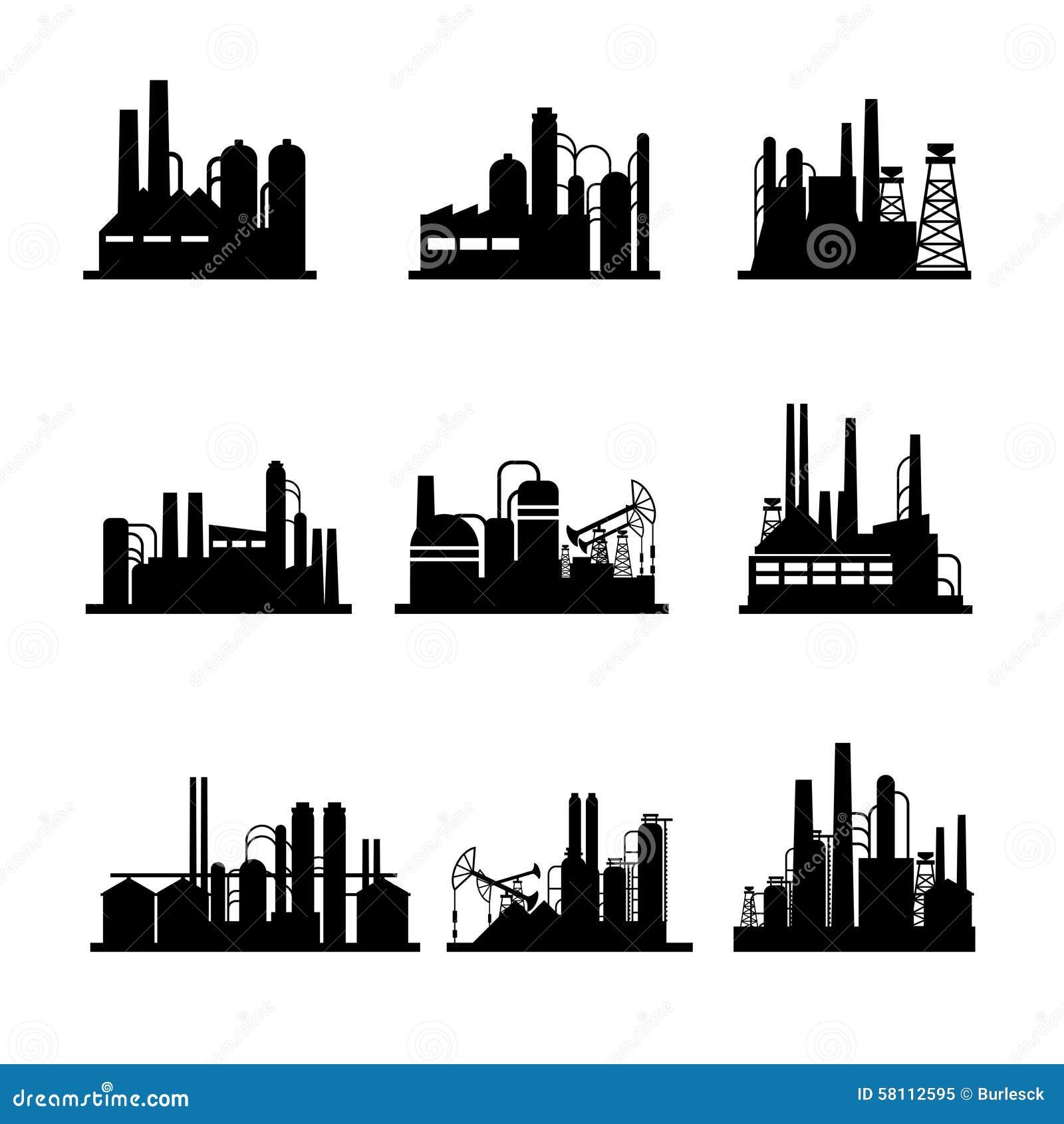 Icônes de raffinerie de pétrole et d installation de transformation d huile