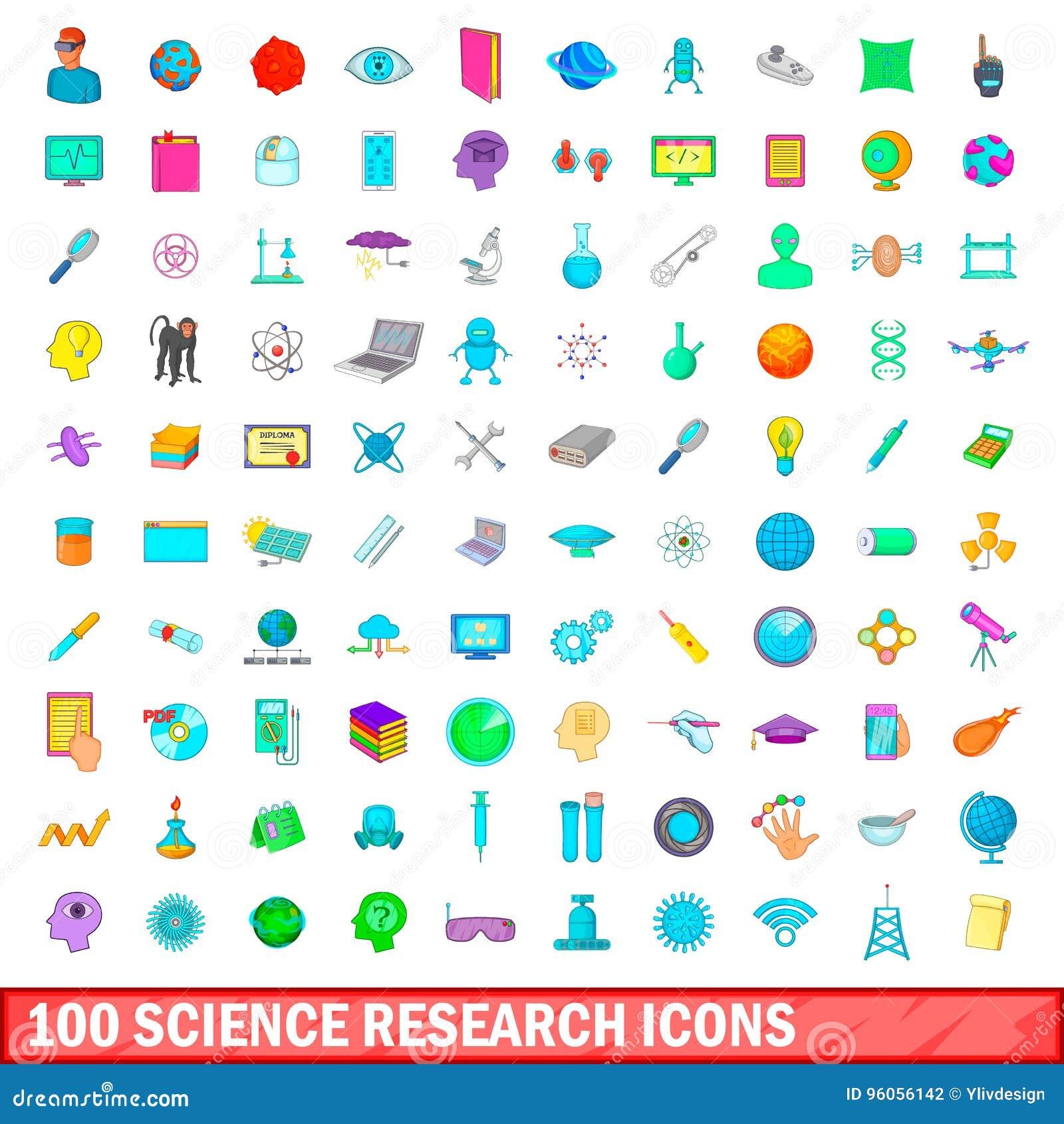 100 icônes de recherches de la science réglées, style de bande dessinée