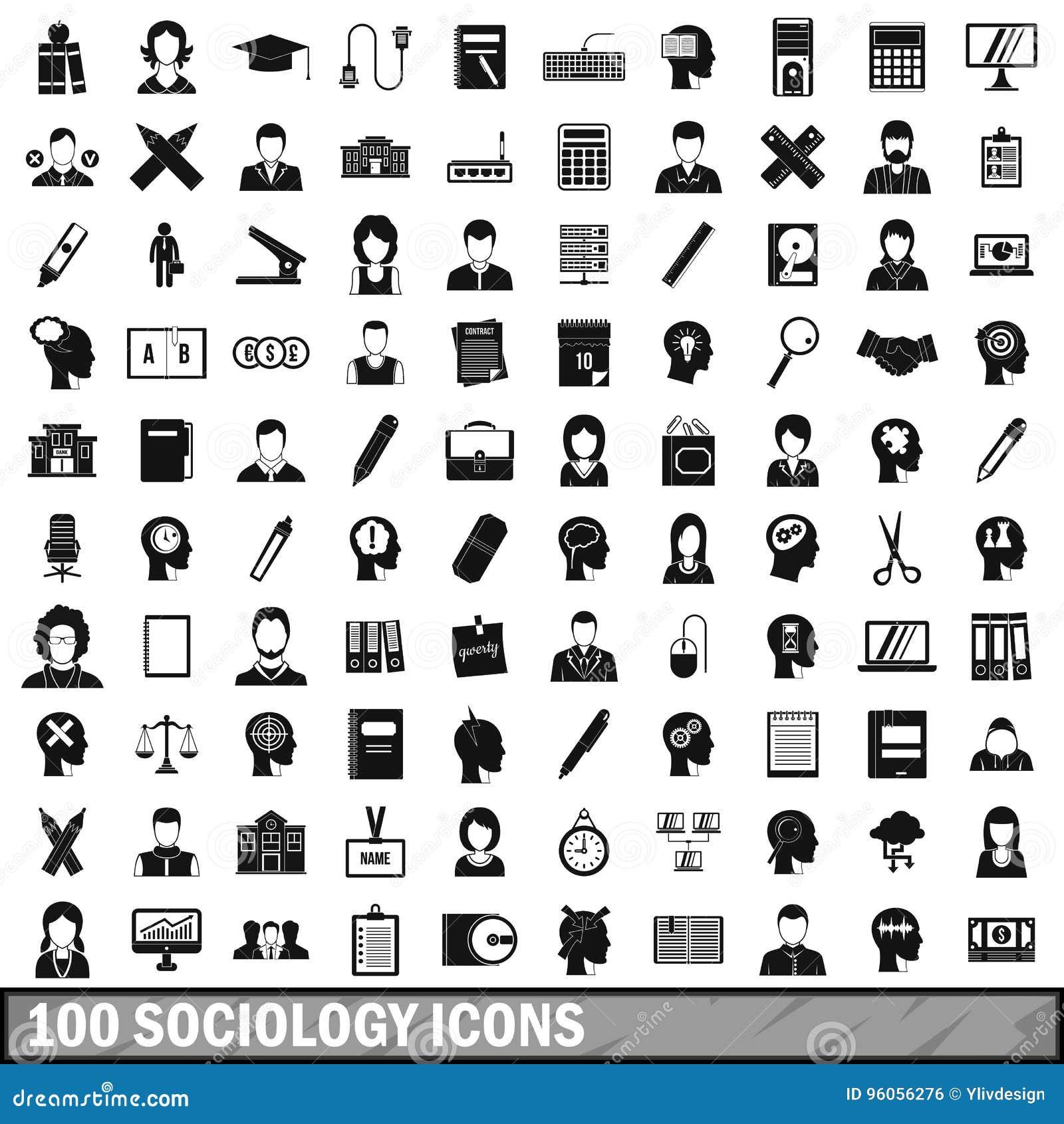 100 icônes de sociologie réglées, style simple