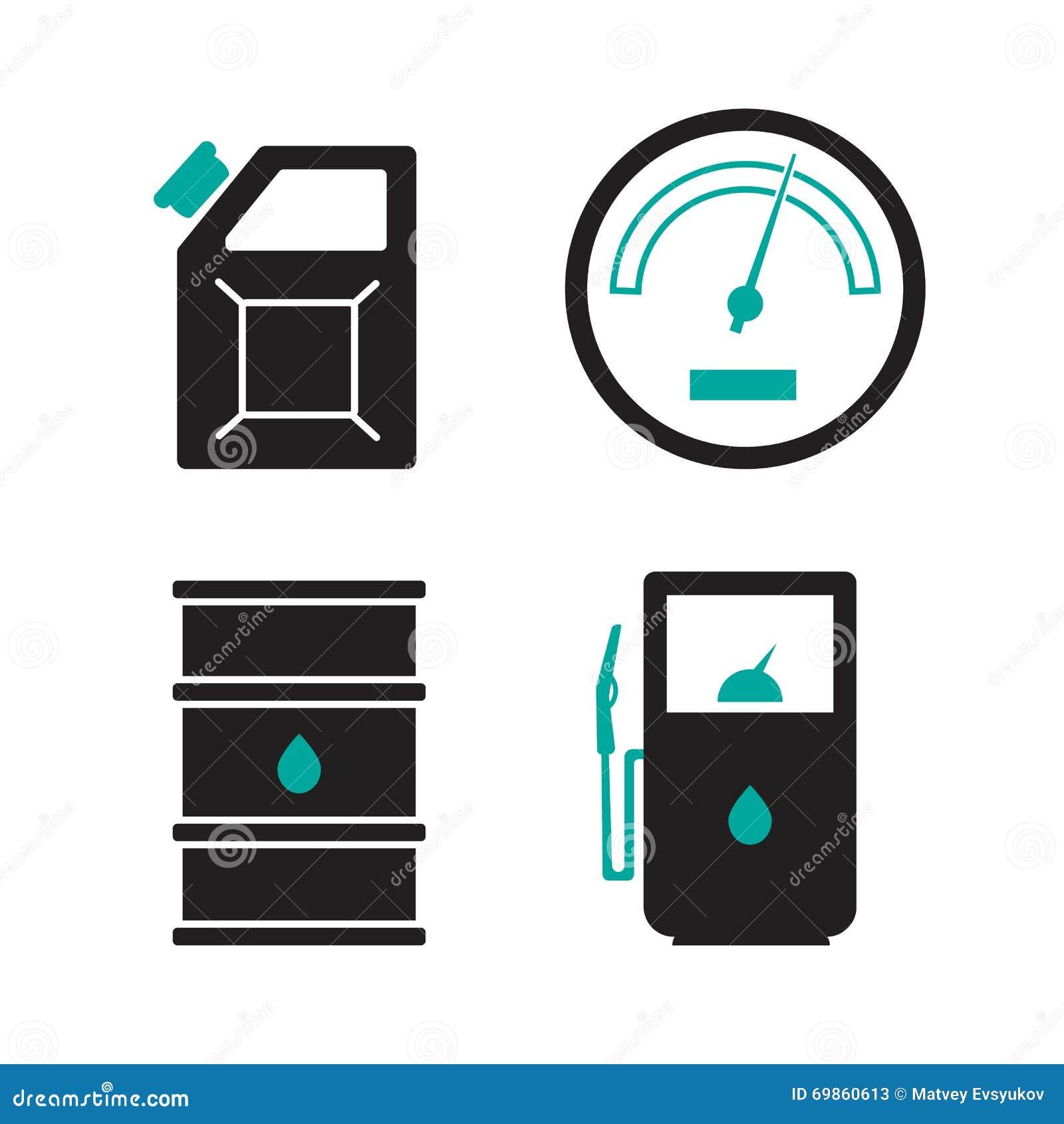 Icônes de station service réglées Intoxiquez l icône d icône, de voiture et de pétrole, essence de carburant