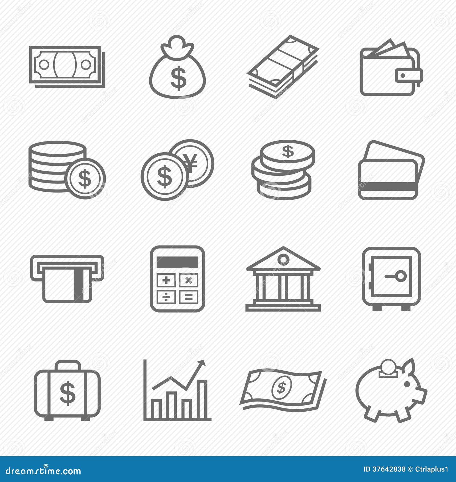 Icônes de symbole de course d ensemble de finances et d argent