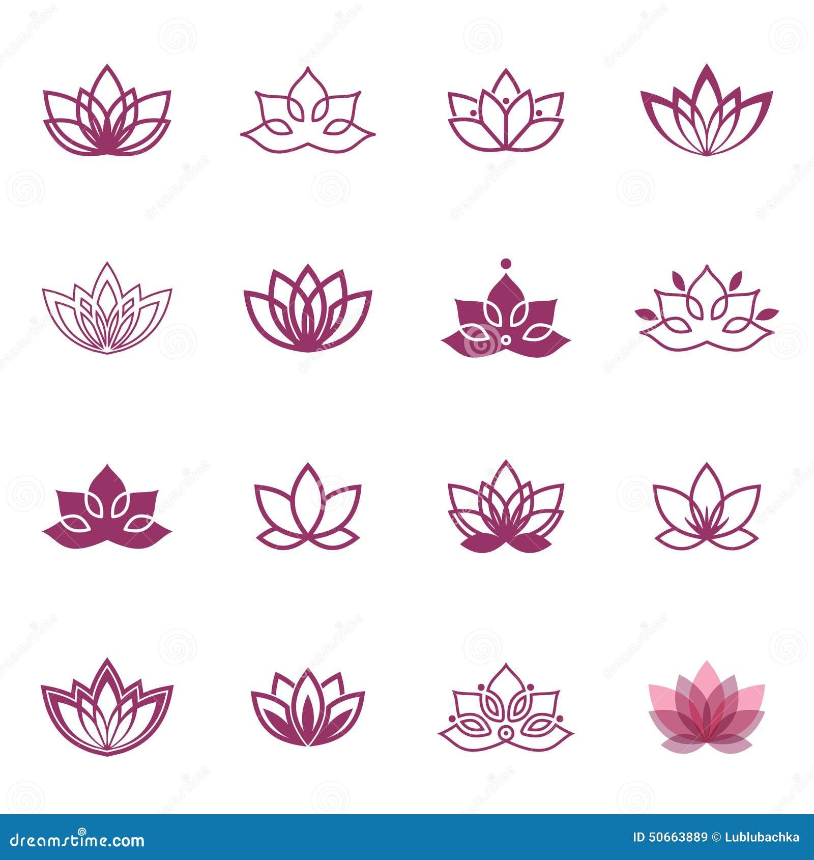 ic nes de symbole de lotus labels floraux de vecteur pour. Black Bedroom Furniture Sets. Home Design Ideas