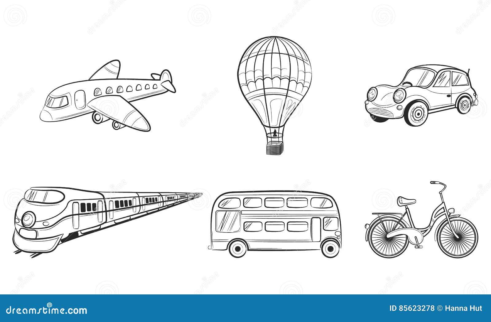 Icônes de voyage de transport de croquis d aspiration de main