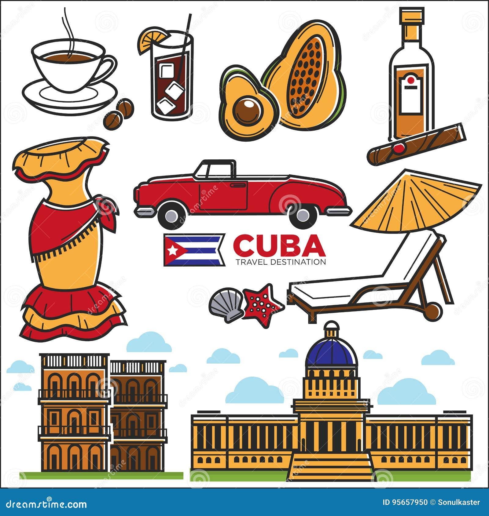 Icônes de voyage du Cuba et points de repère guidés de La Havane de vecteur