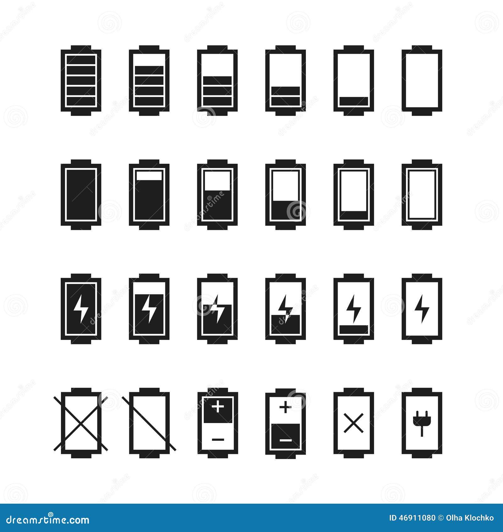 Icônes De Web De Batterie, Symbole, Style Plat De Connexion ...