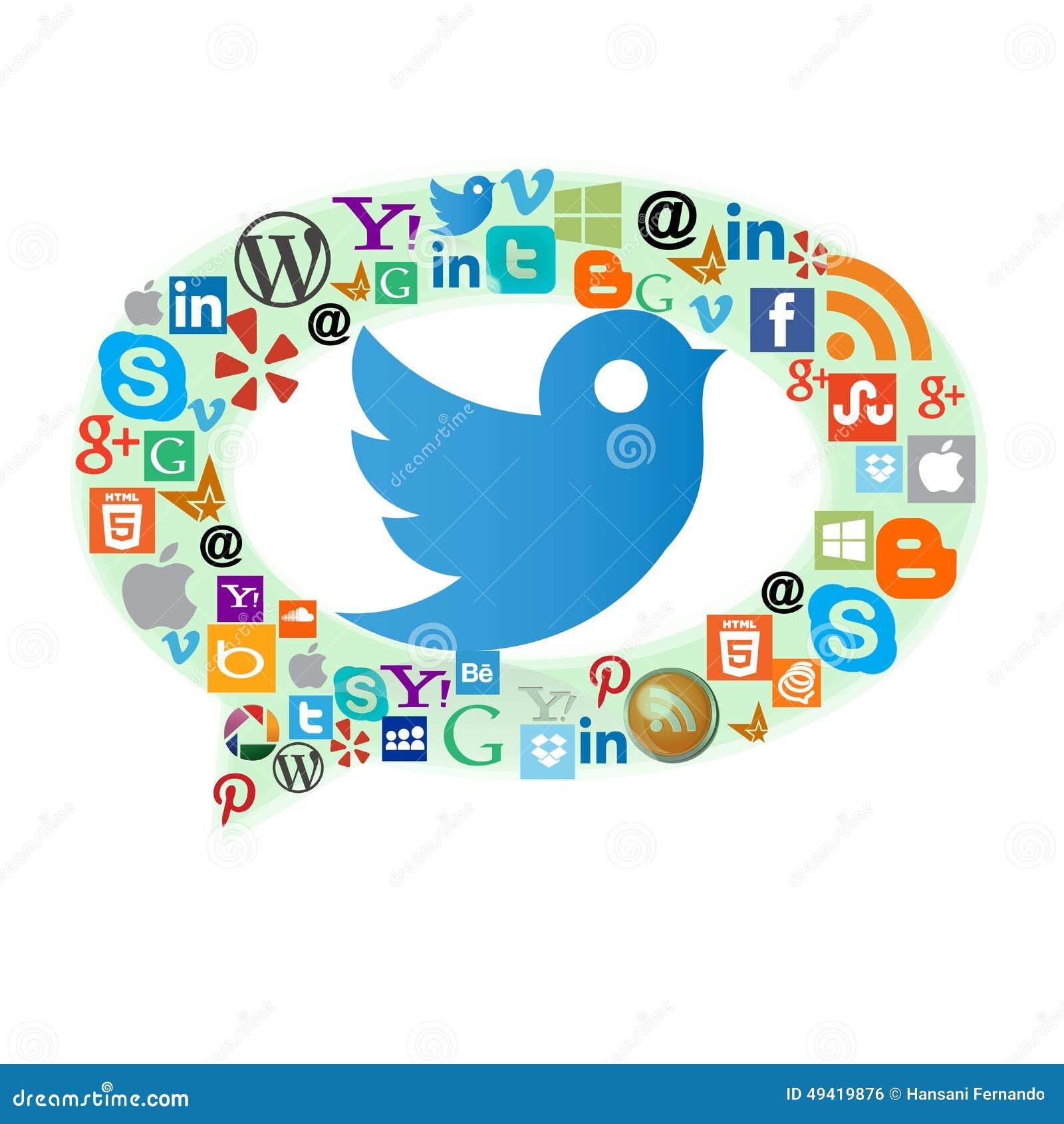Icônes de Web de les plus populaires avec l oiseau de Twitter
