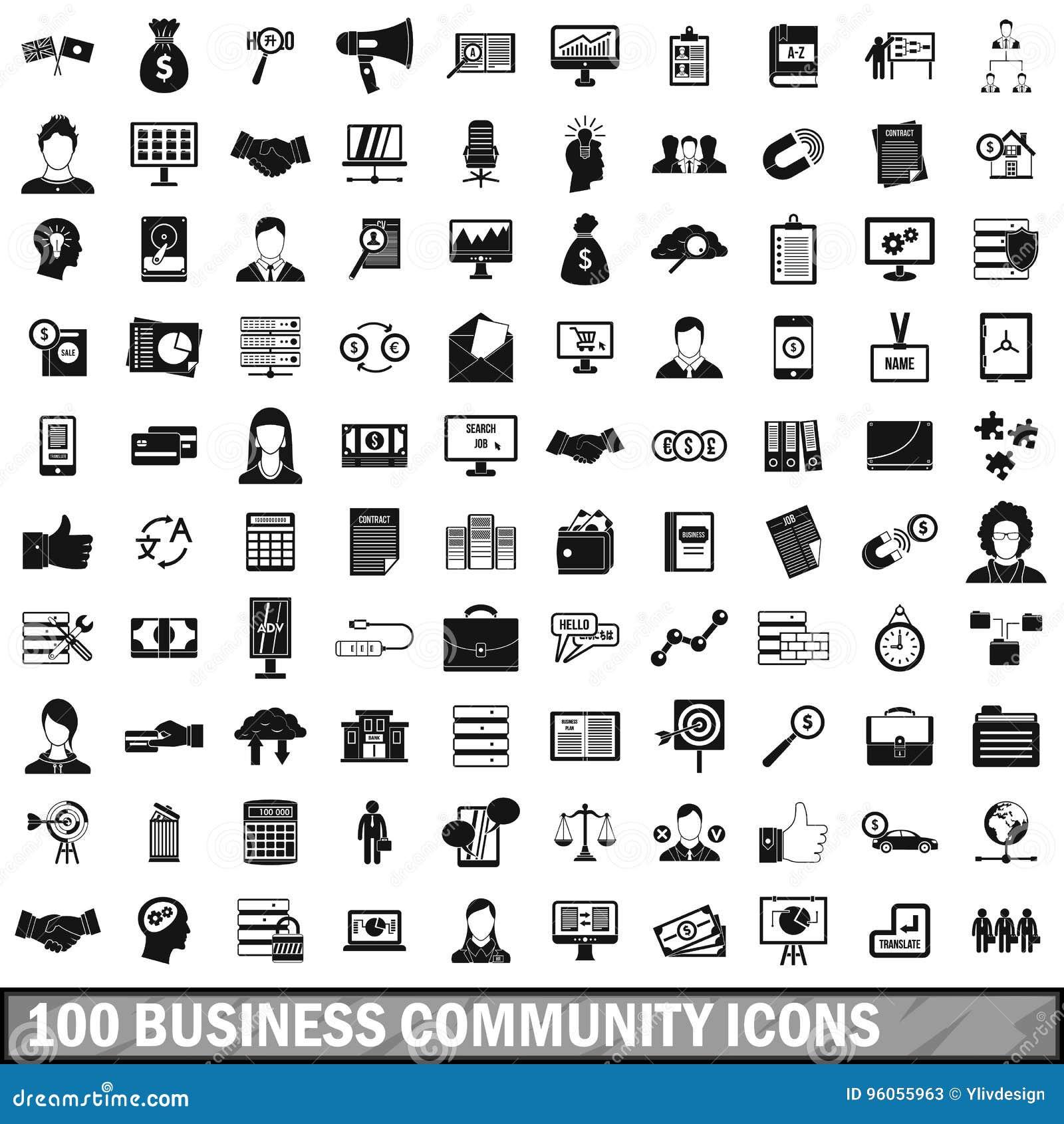 100 icônes du milieu des affaires réglées, style simple