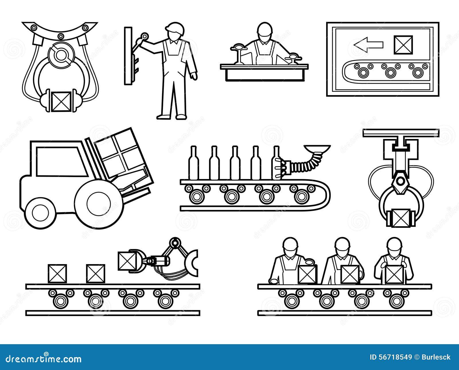 ic u00f4nes industriel et de processus de fabrication r u00e9gl u00e9es dedans illustration de vecteur