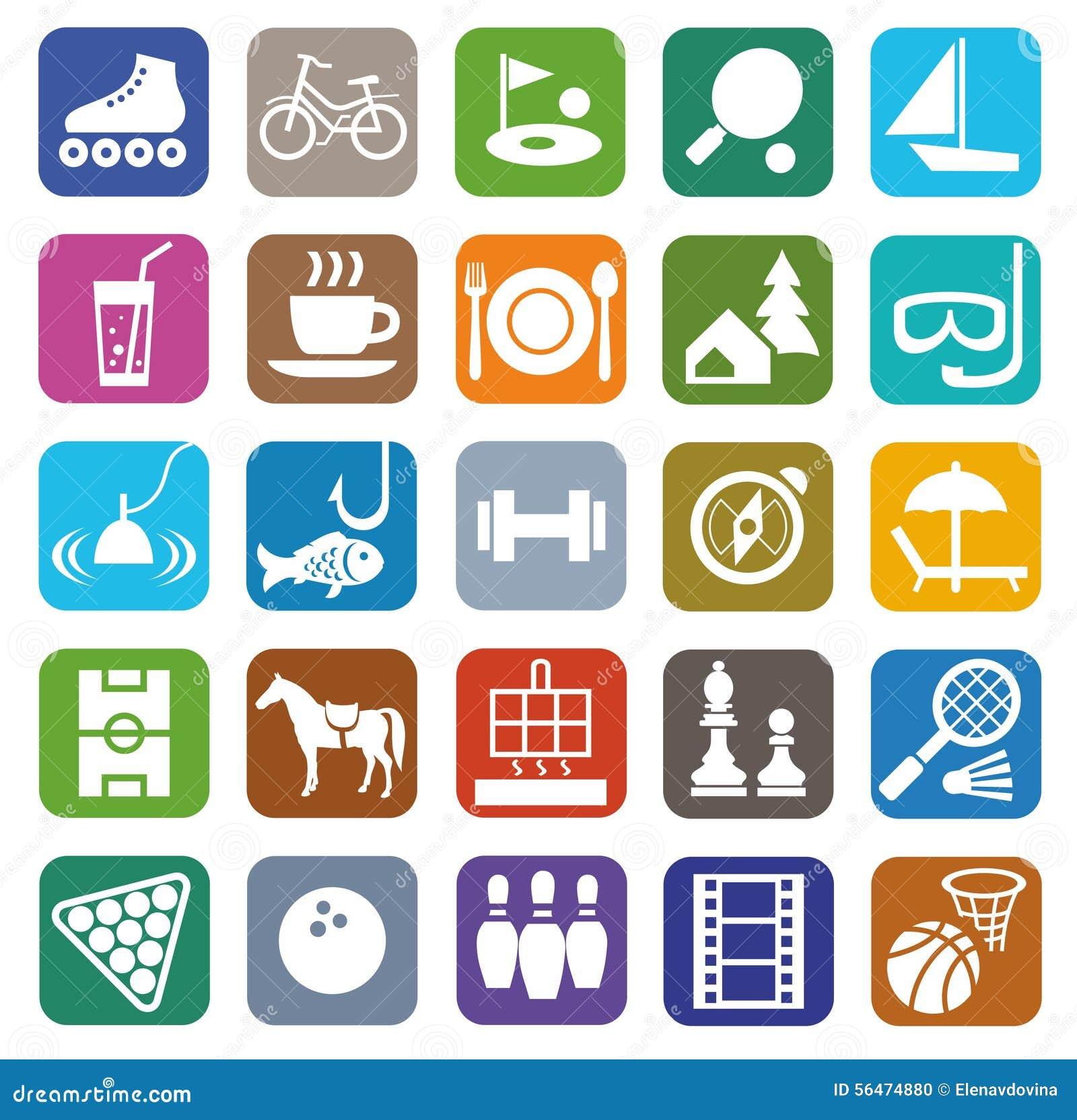 ic u00f4nes  loisirs  divertissement  tourisme  couleur  plate illustration de vecteur
