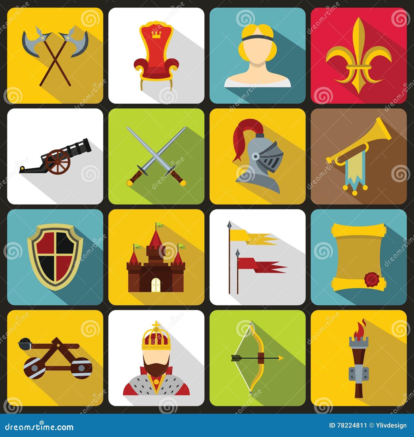 Icônes médiévales de chevalier réglées, style plat
