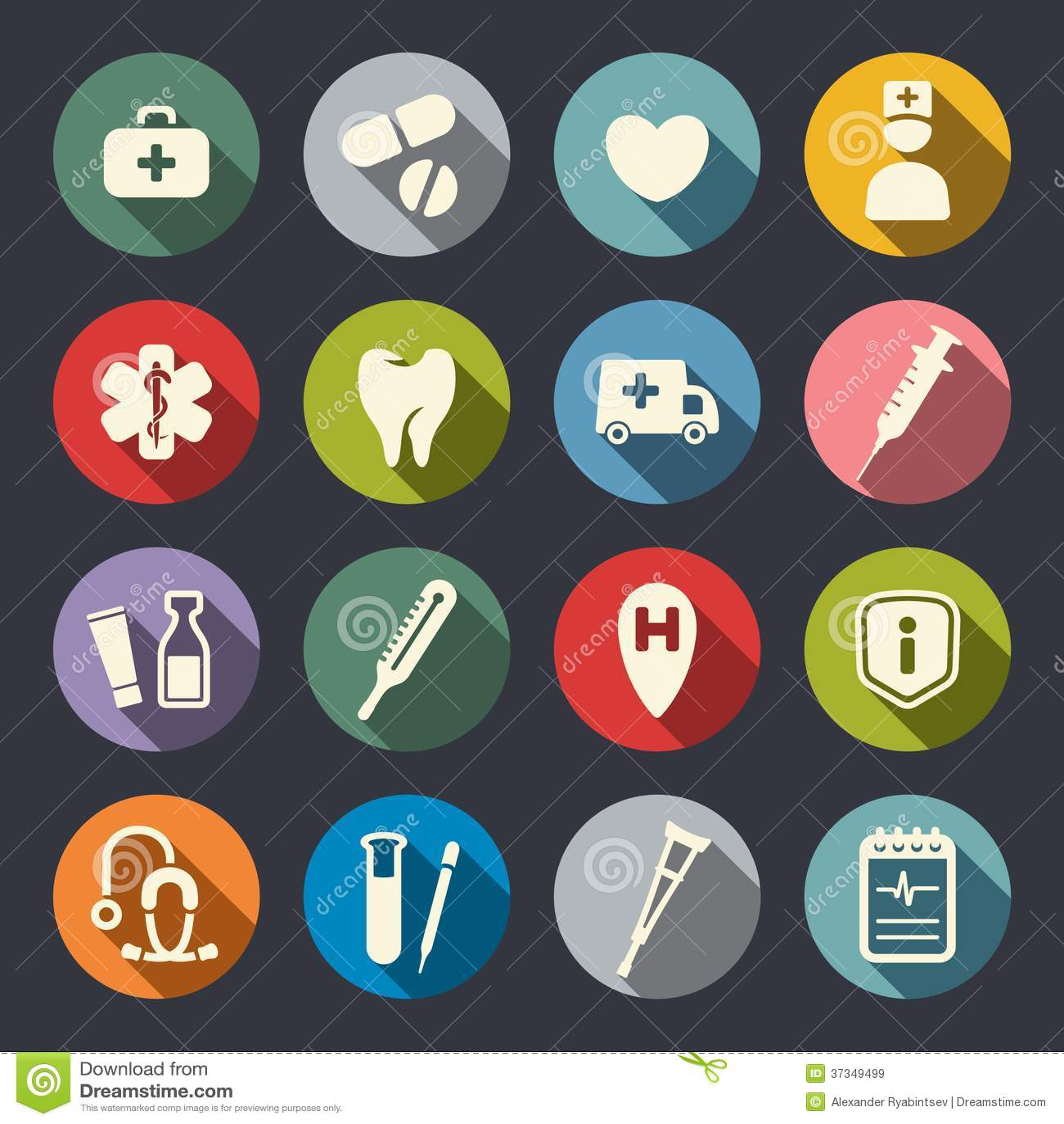Icônes médicales plates