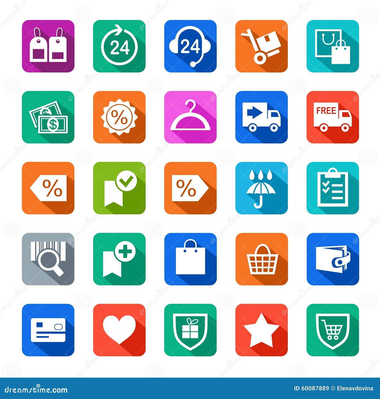 Icônes, magasin en ligne, achat, achats, colorés avec l ombre