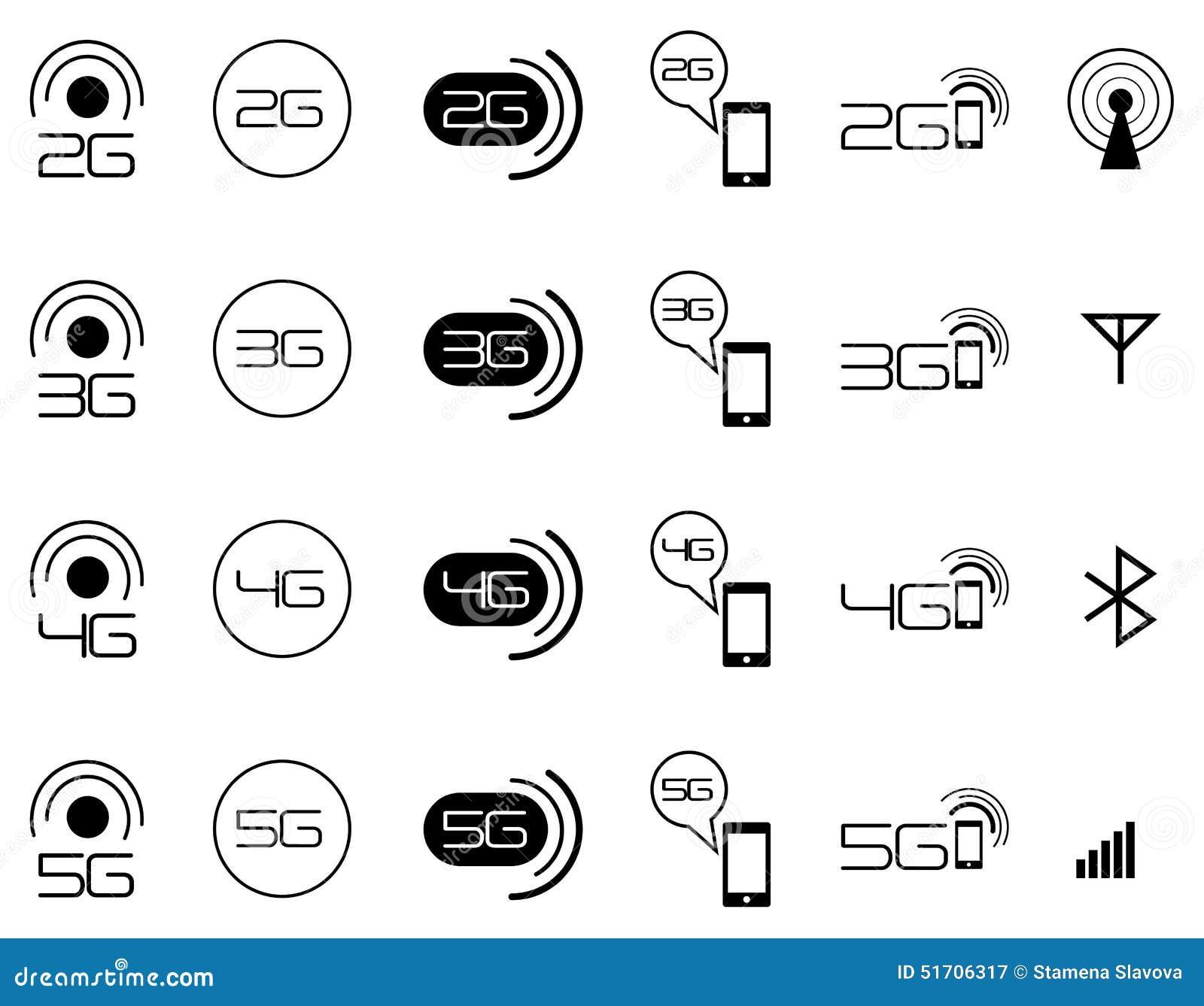 Icônes mobiles de réseau de 2G 3G 4G