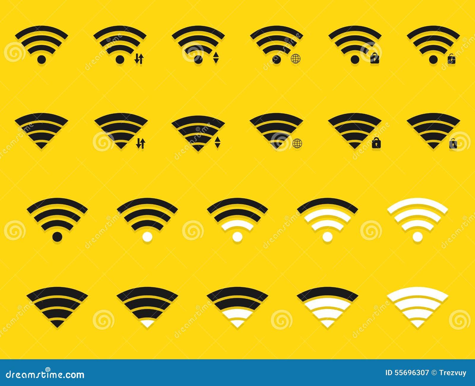Icônes modernes de wifi de vecteur réglées sur le jaune