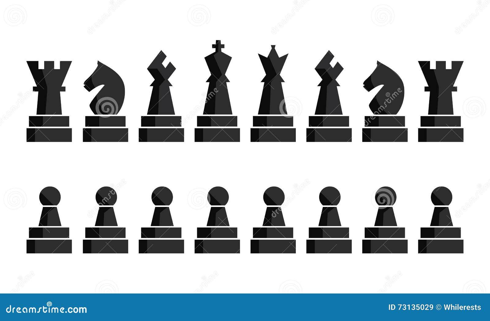 Icônes noires d échecs réglées Chiffres d échiquier Pièces d échecs d illustration de vecteur Neuf objets différents comprenant l
