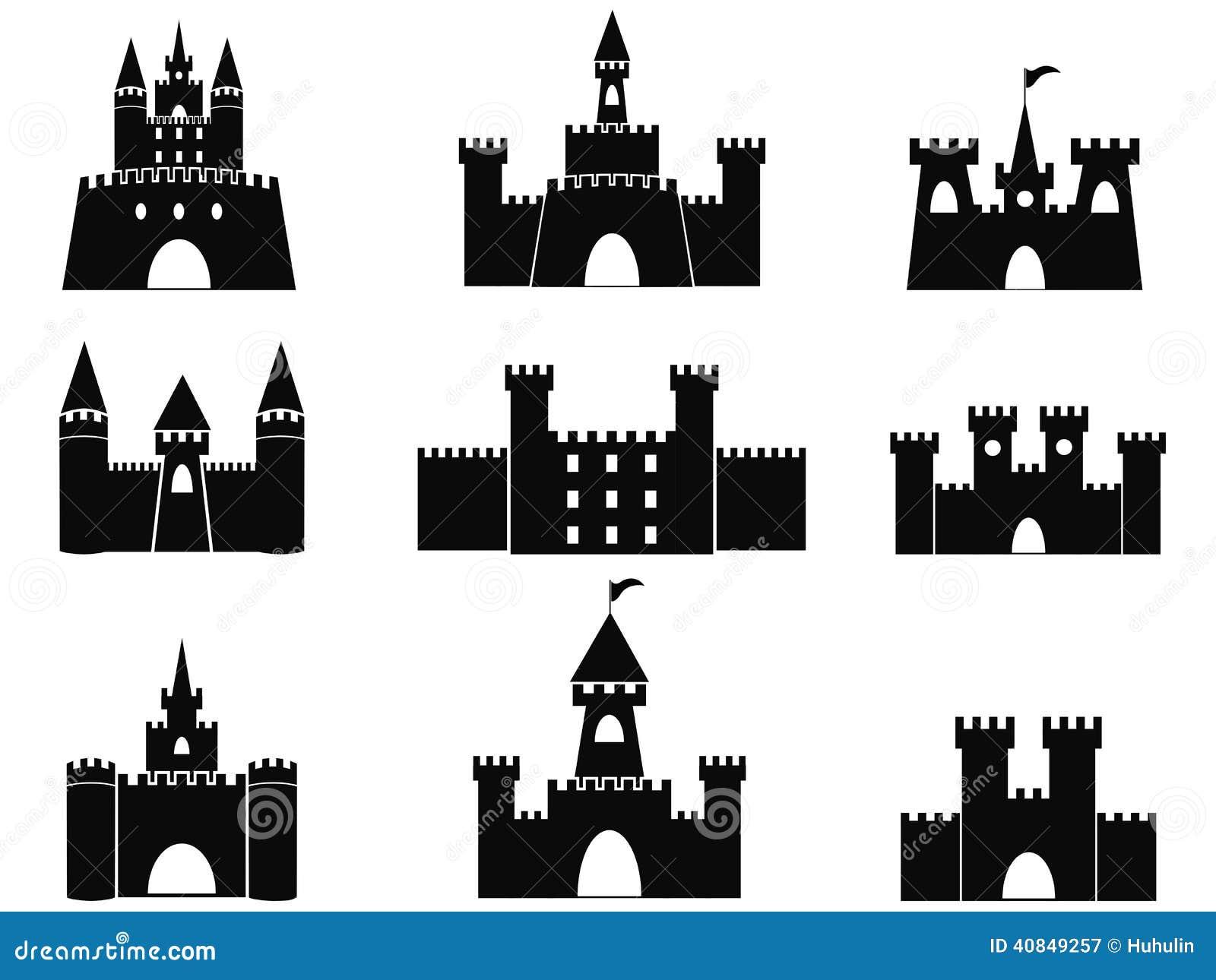 Icônes noires de château