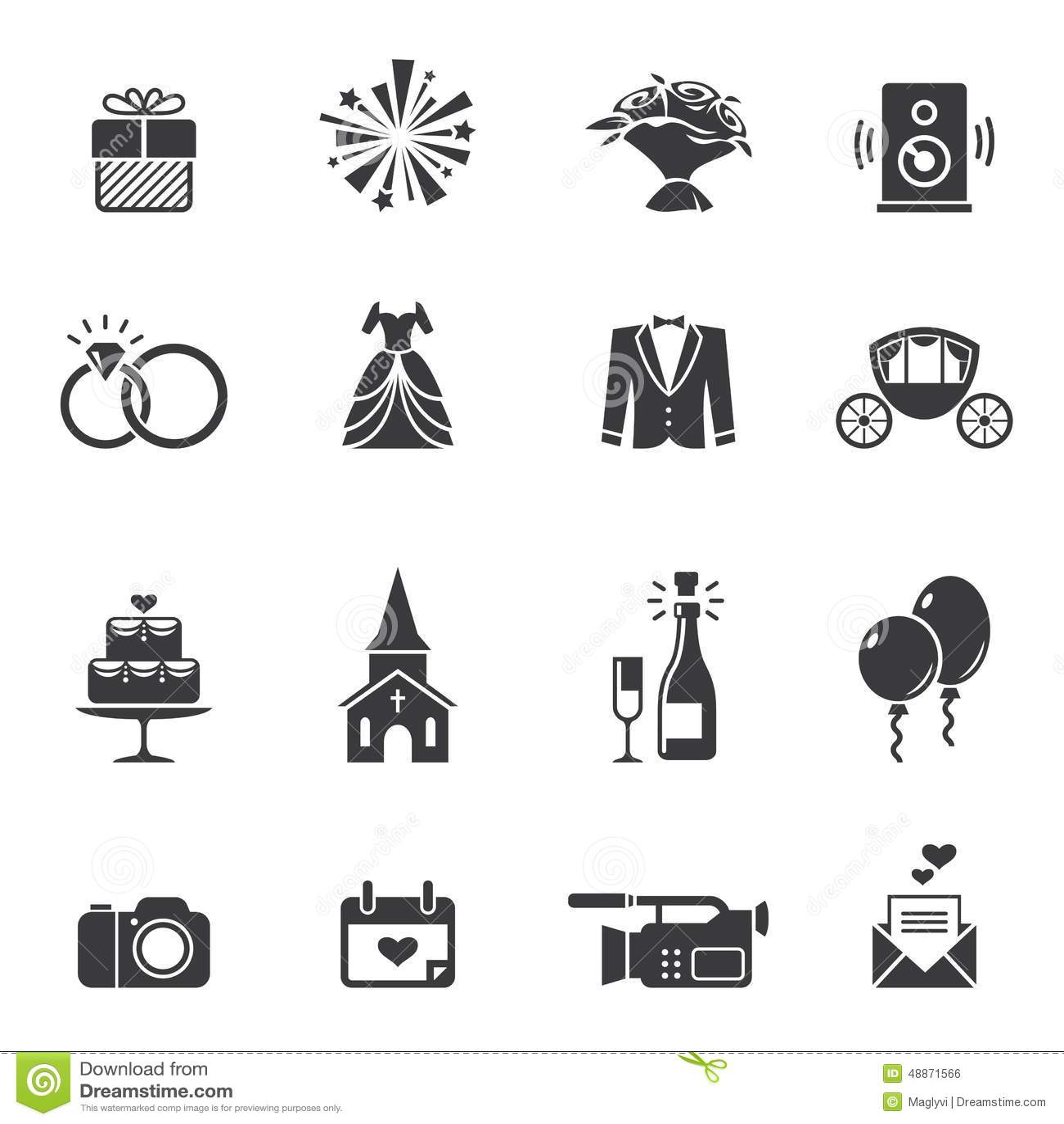 Icones Noires De Mariage Illustration De Vecteur