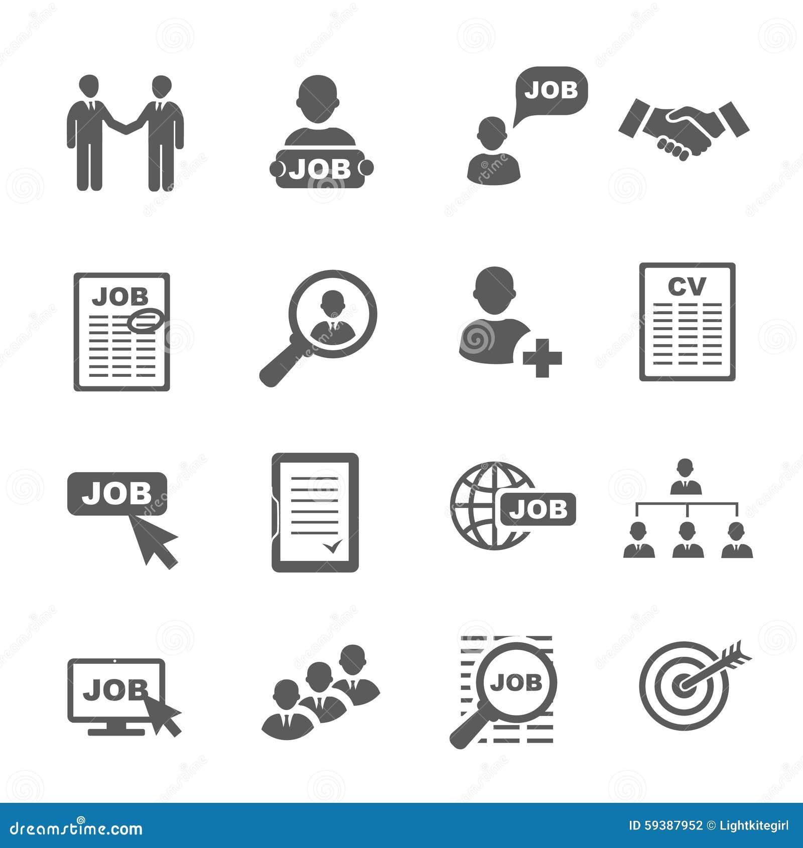 ic u00f4nes noires de recherche d u0026 39 emploi de vecteur r u00e9gl u00e9es illustration de vecteur