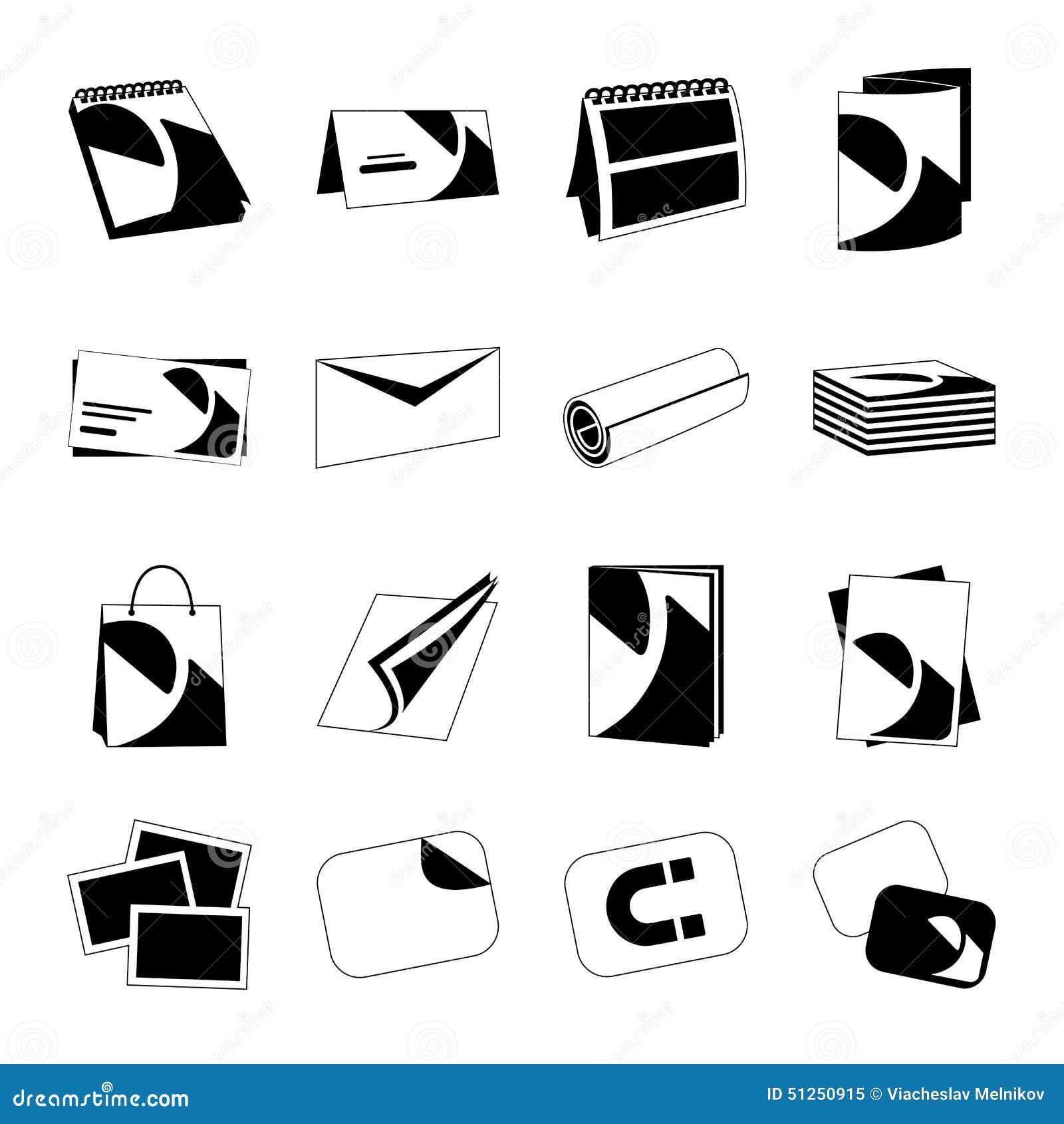 Les Icones Noires Monochromes De Web Maison Dimpression Avec Des Produits Incluent La Carte Visite Professionnelle Postale Et Le Calendrier