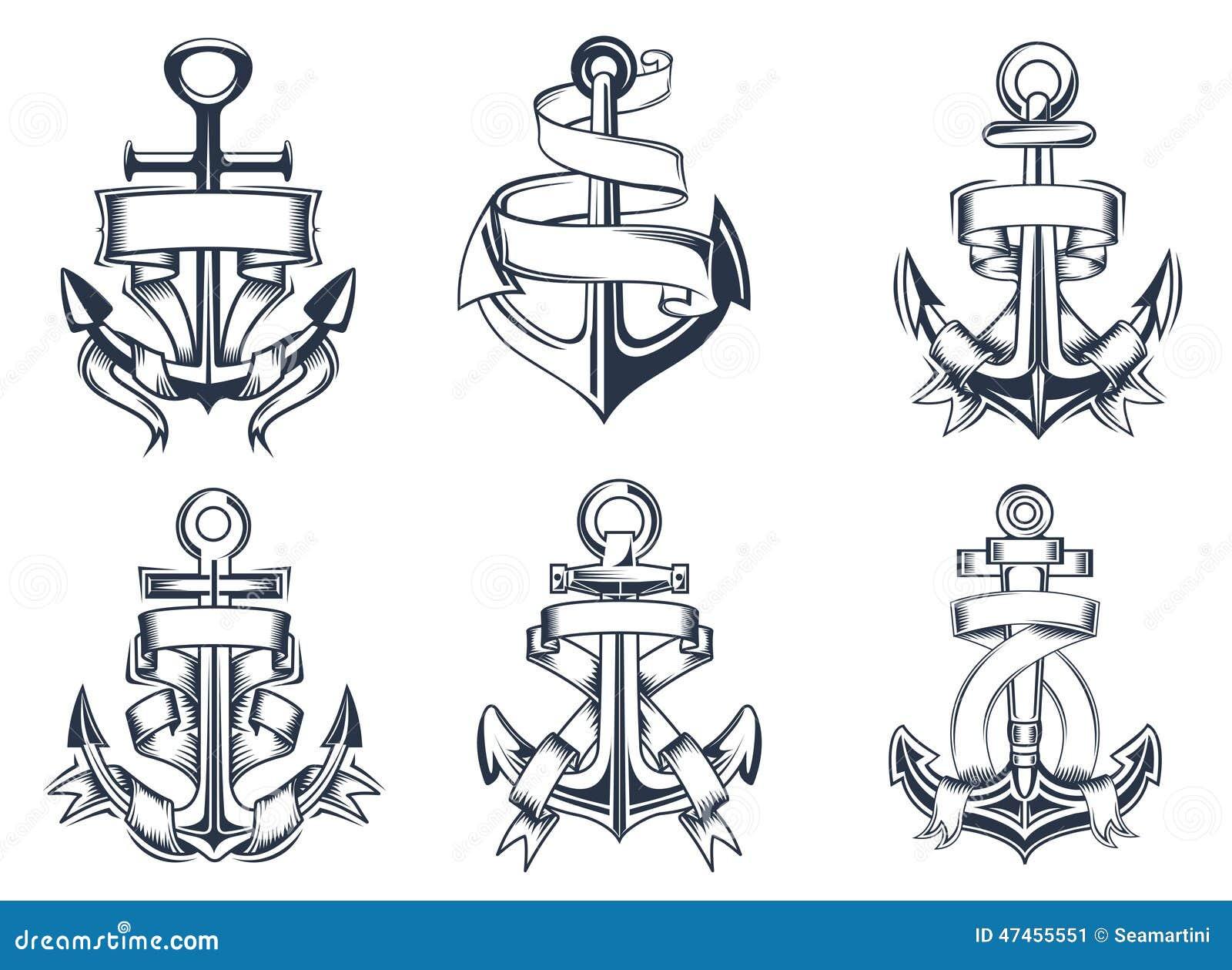 Ic nes orient es marines d 39 ancre de bateaux avec des rubans illustration de vecteur image - Ancre marine dessin ...