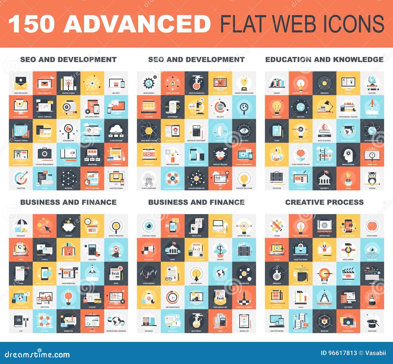 Icônes plates avancées de Web