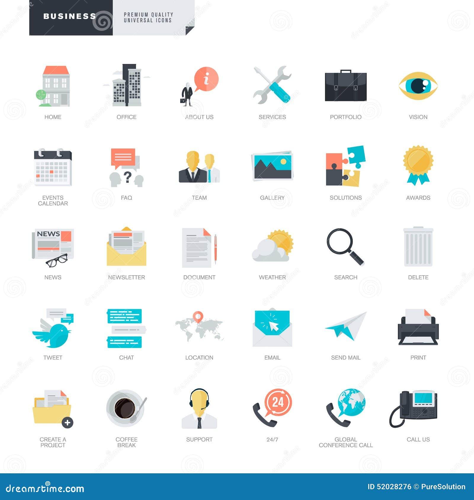 Icônes plates d affaires de conception pour des concepteurs de graphique et de Web