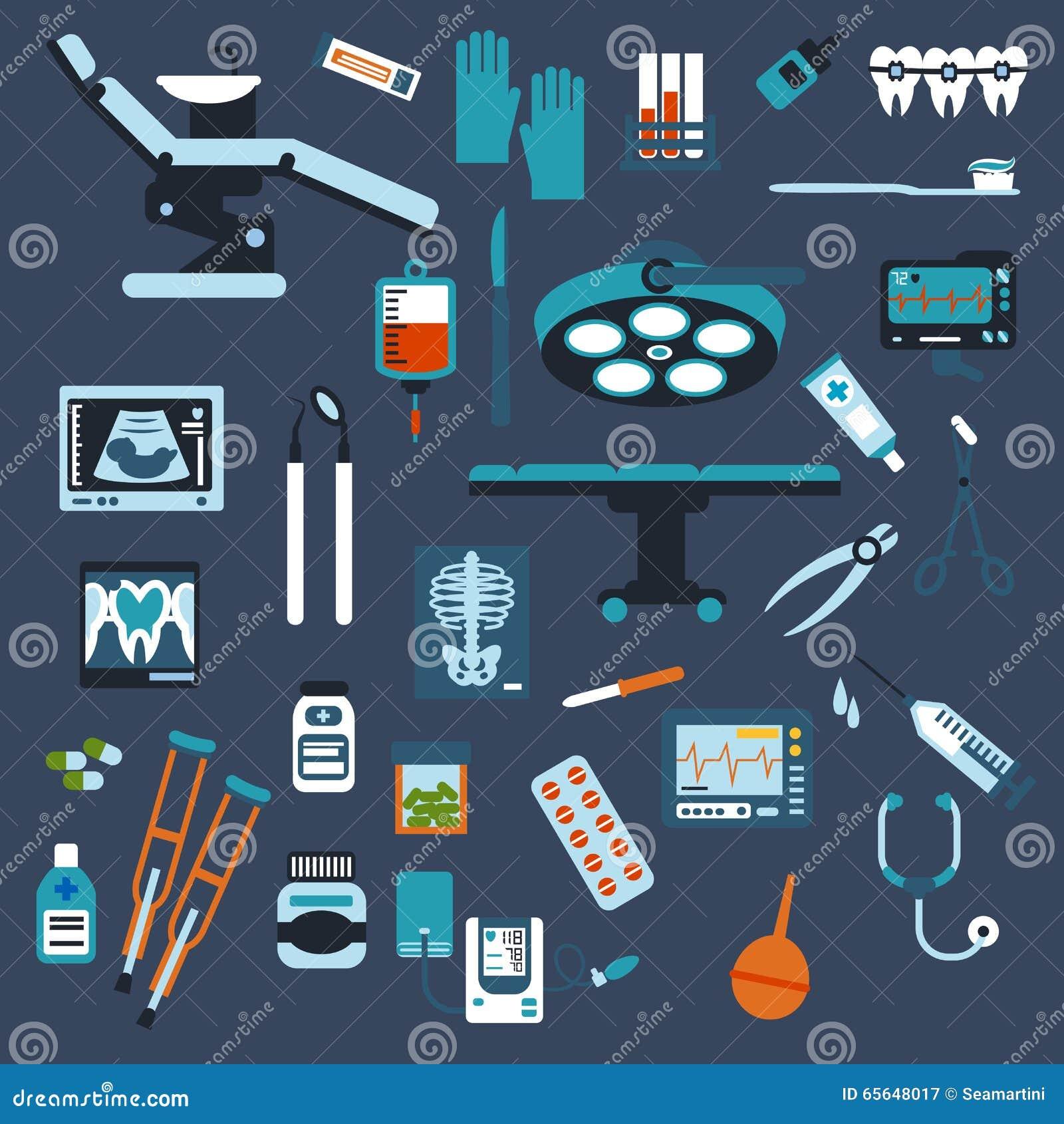 Icônes plates d art dentaire, de chirurgie et de visite médicale