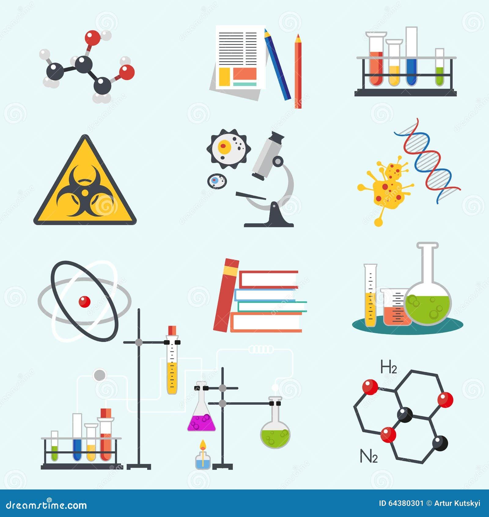 Icônes plates d illustration de vecteur de conception de style de la science et technologie chimique de laboratoire Outils de lie