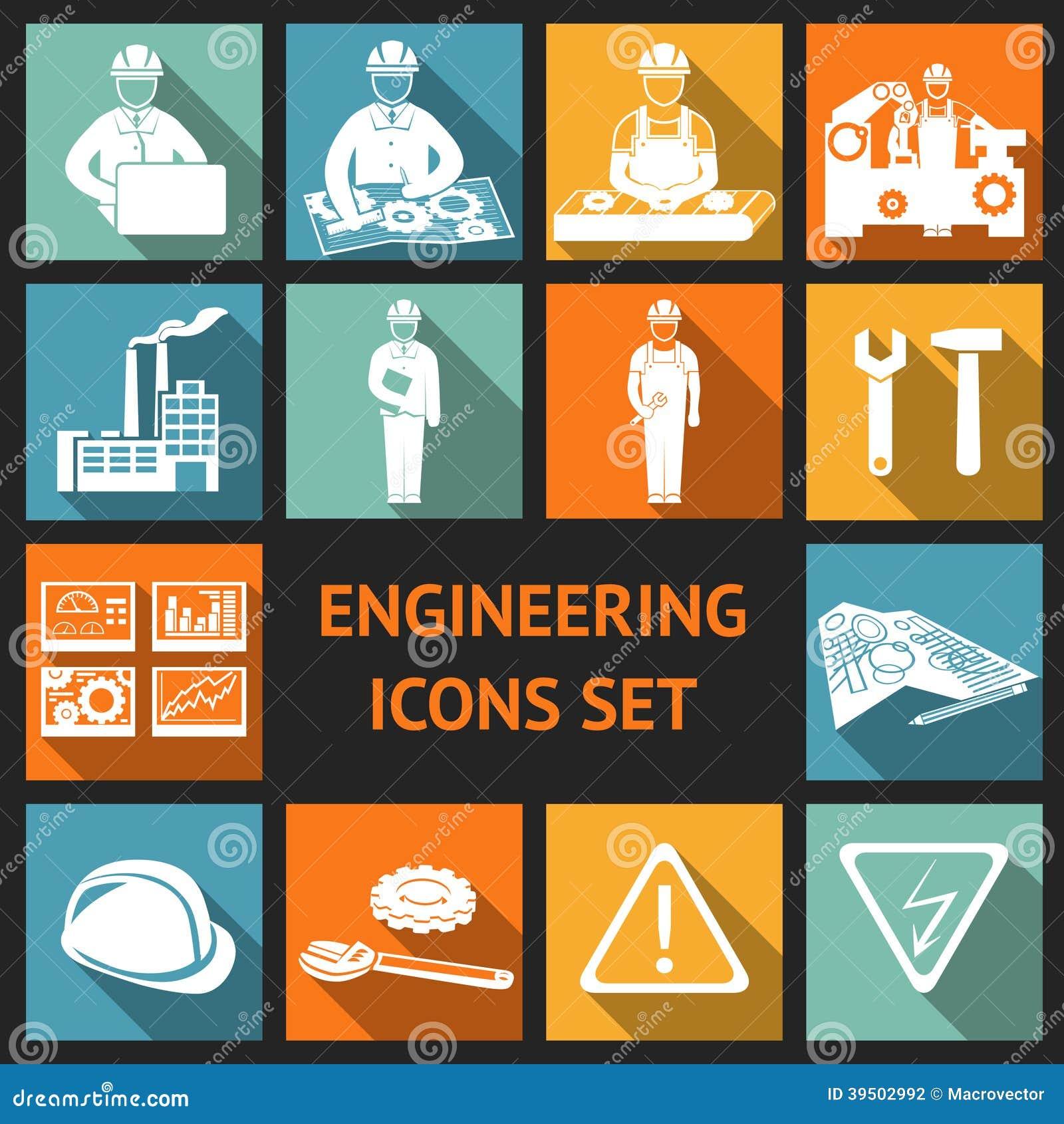 Icônes plates d ingénierie réglées