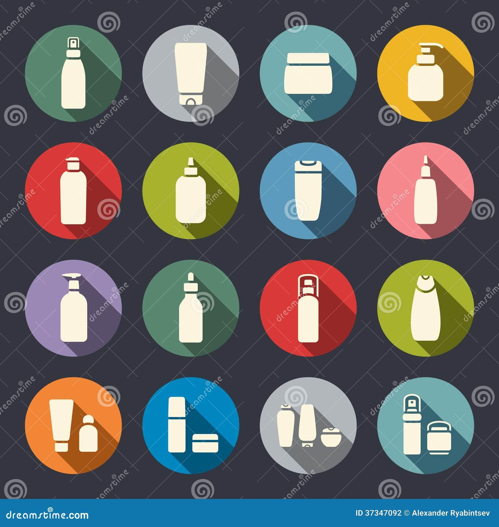 Icônes plates de bouteille cosmétique