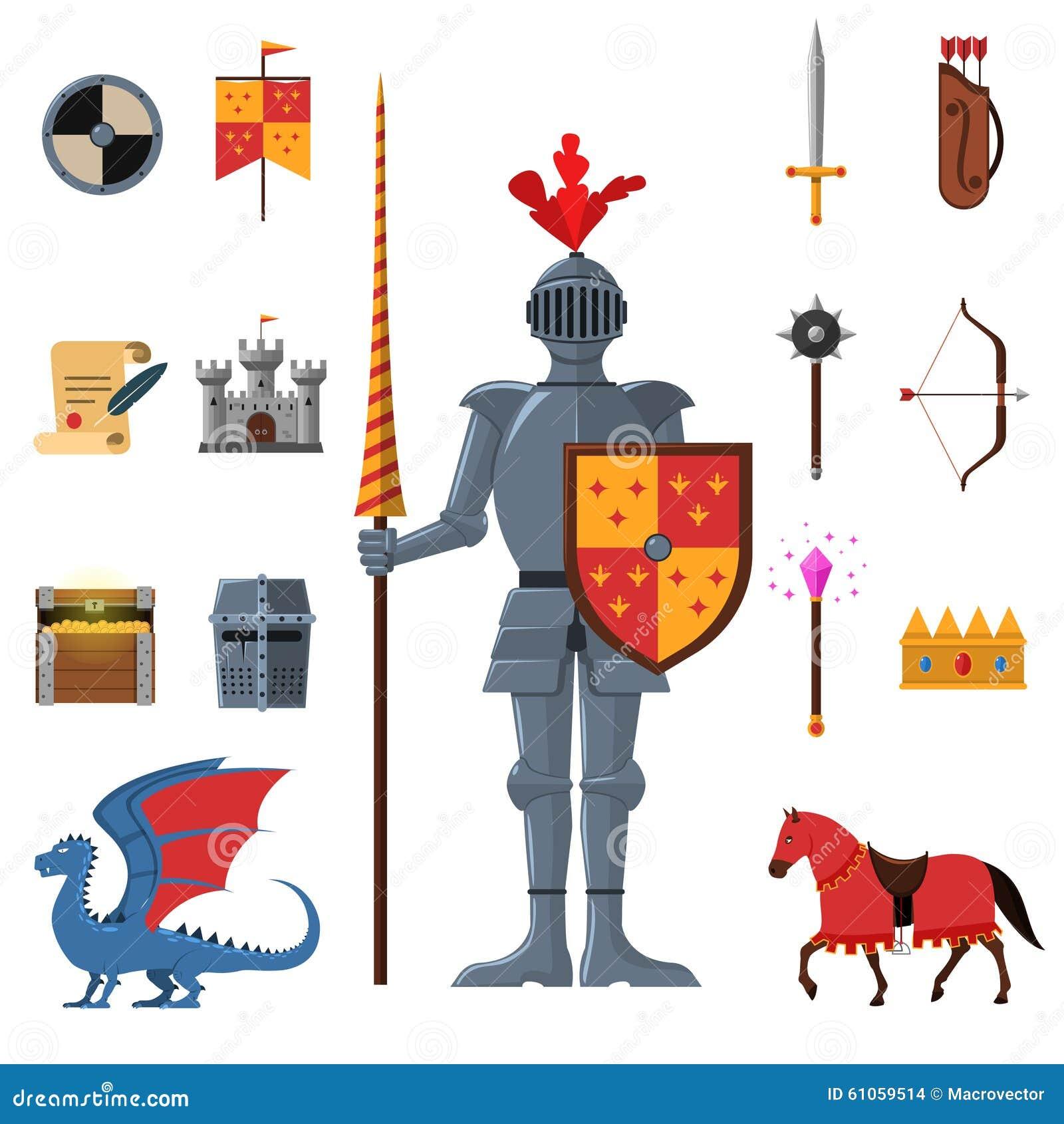 Icônes plates de chevaliers médiévaux de royaume réglées