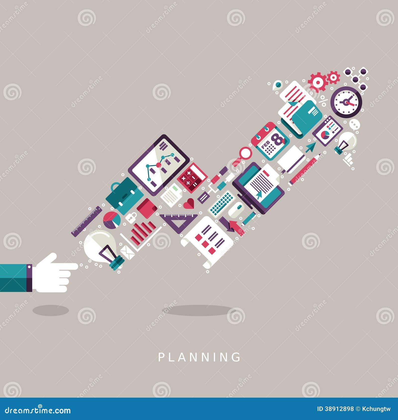 Icônes plates de concept de planification de conception réglées