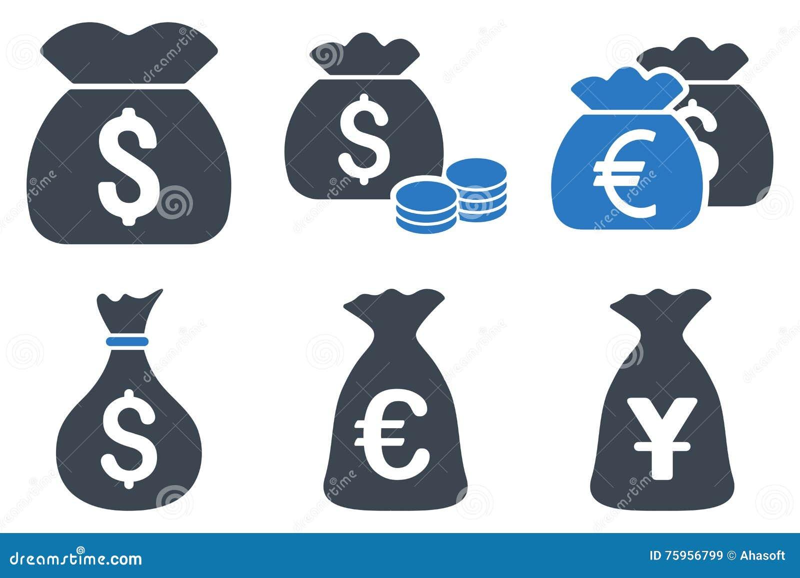 Icônes plates de Glyph de sac d argent