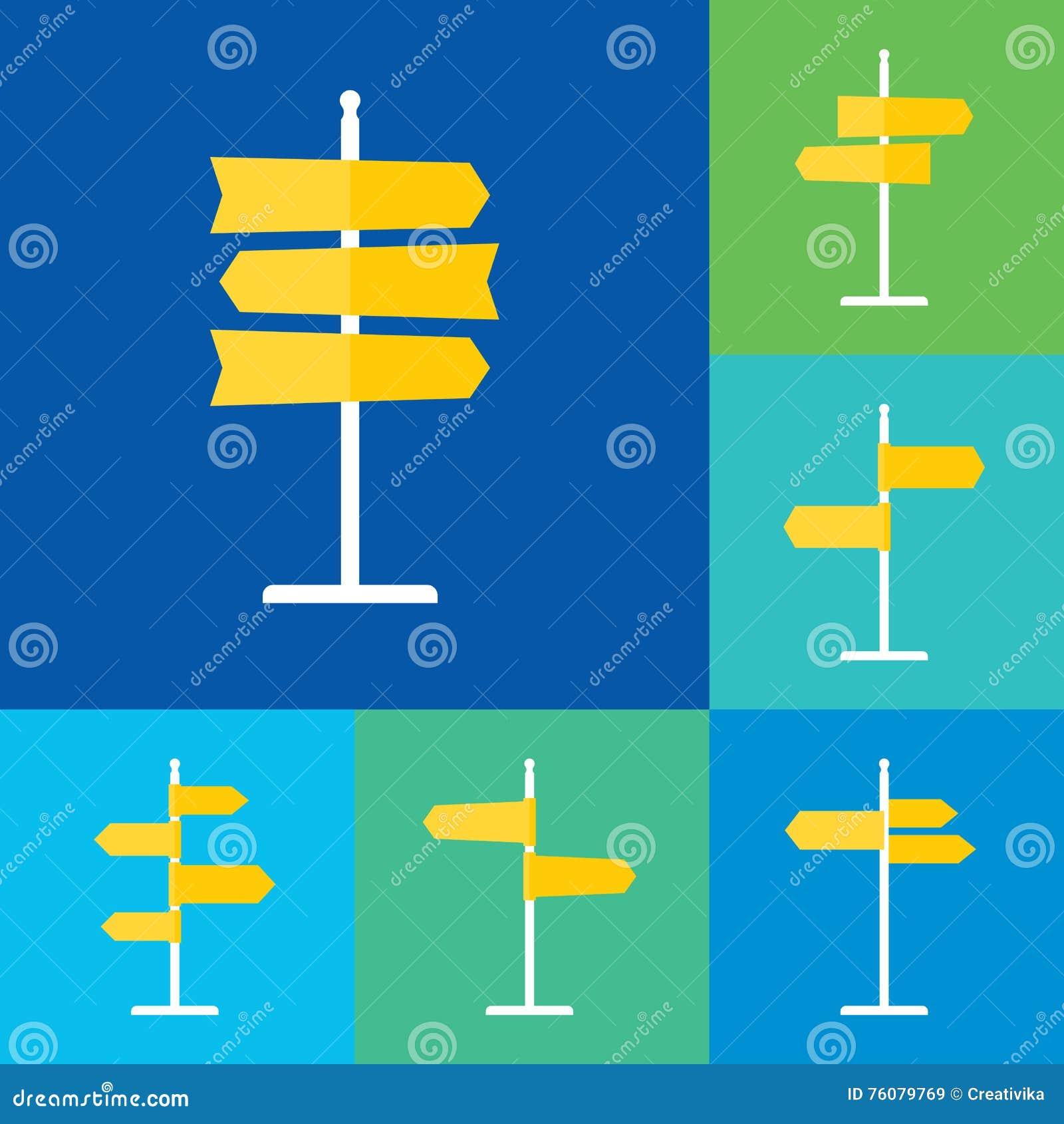 Icônes plates de panneau routier réglées
