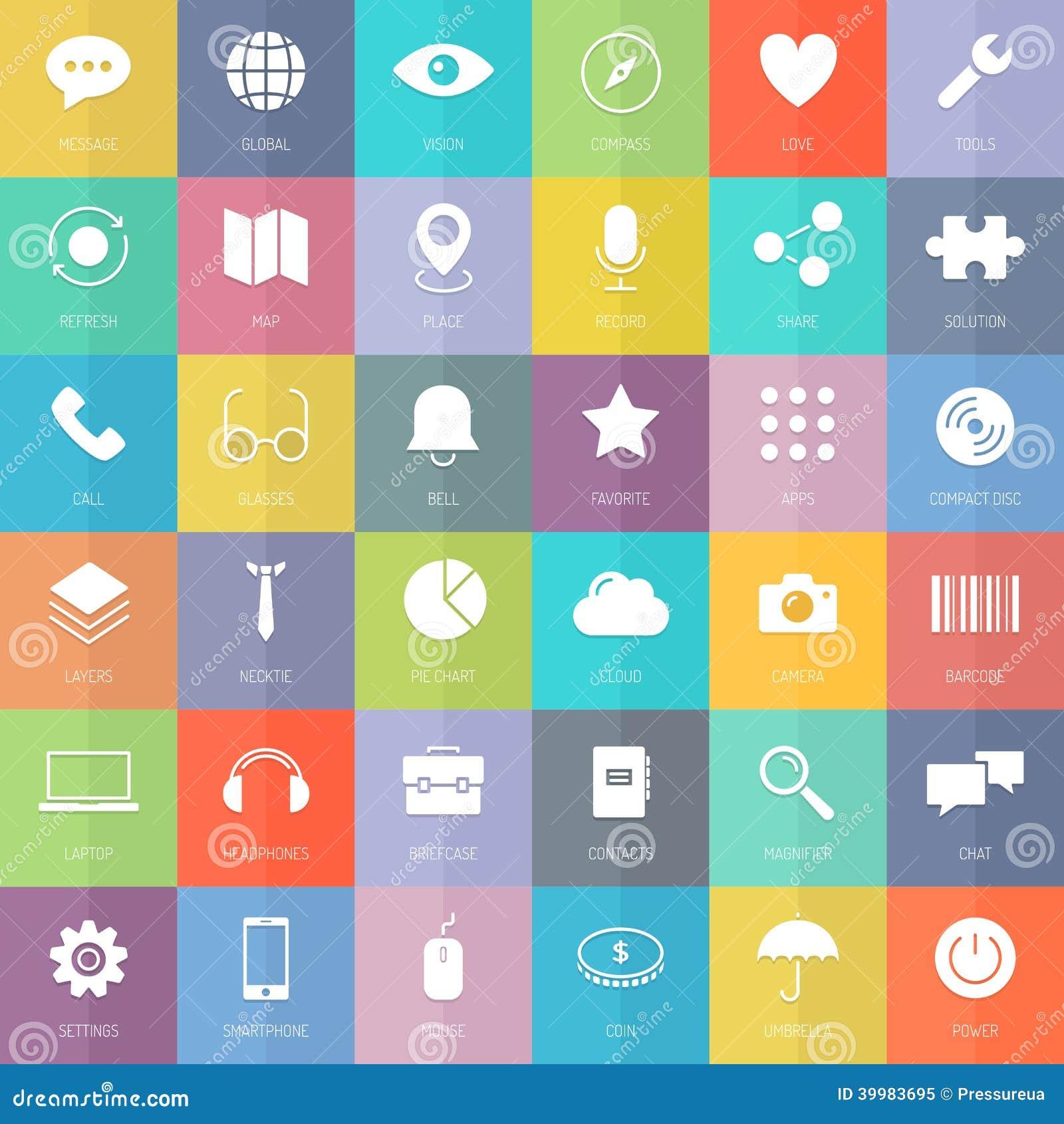 Icônes plates modernes d affaires et de technologie réglées