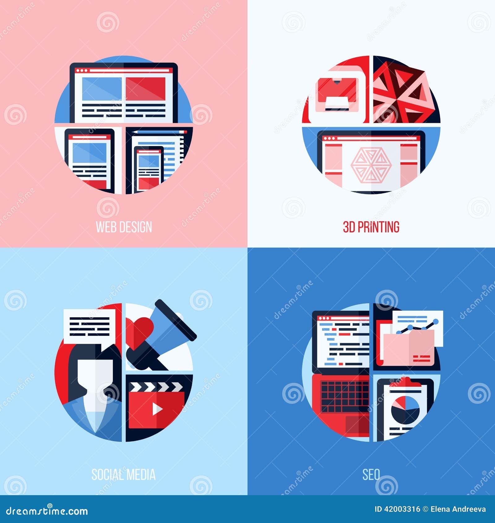 Icônes plates modernes de web design, 3D impression, media social, SEO