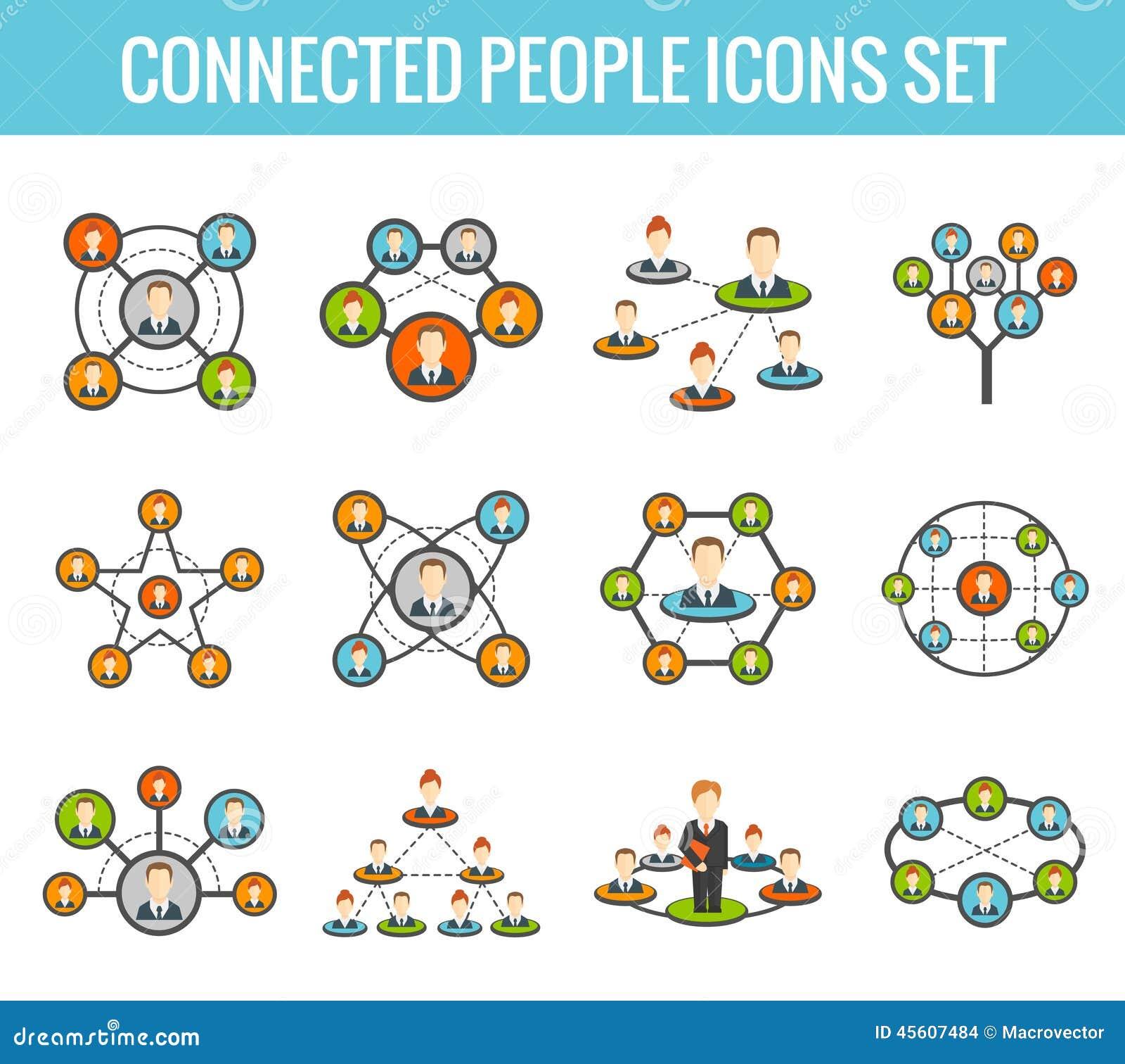 Icônes plates reliées de personnes réglées