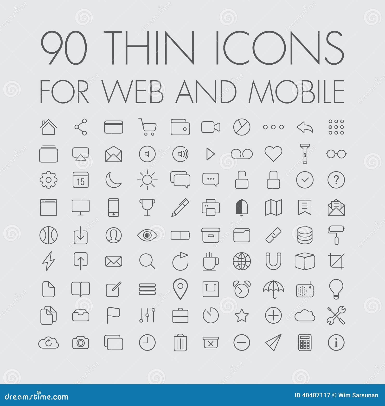 90 icônes pour le Web et le mobile