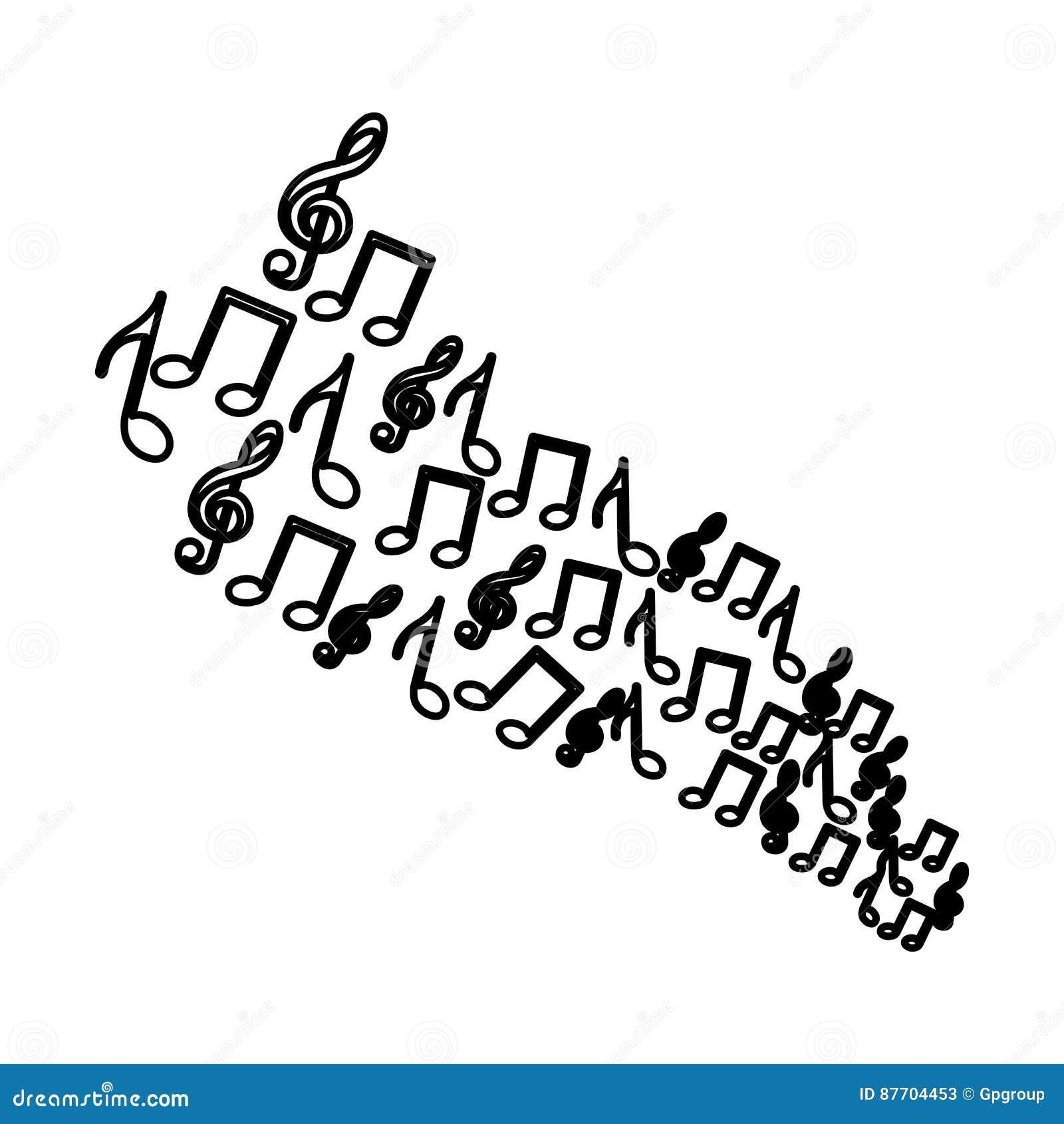 Icônes réglées de notes musicales de silhouette
