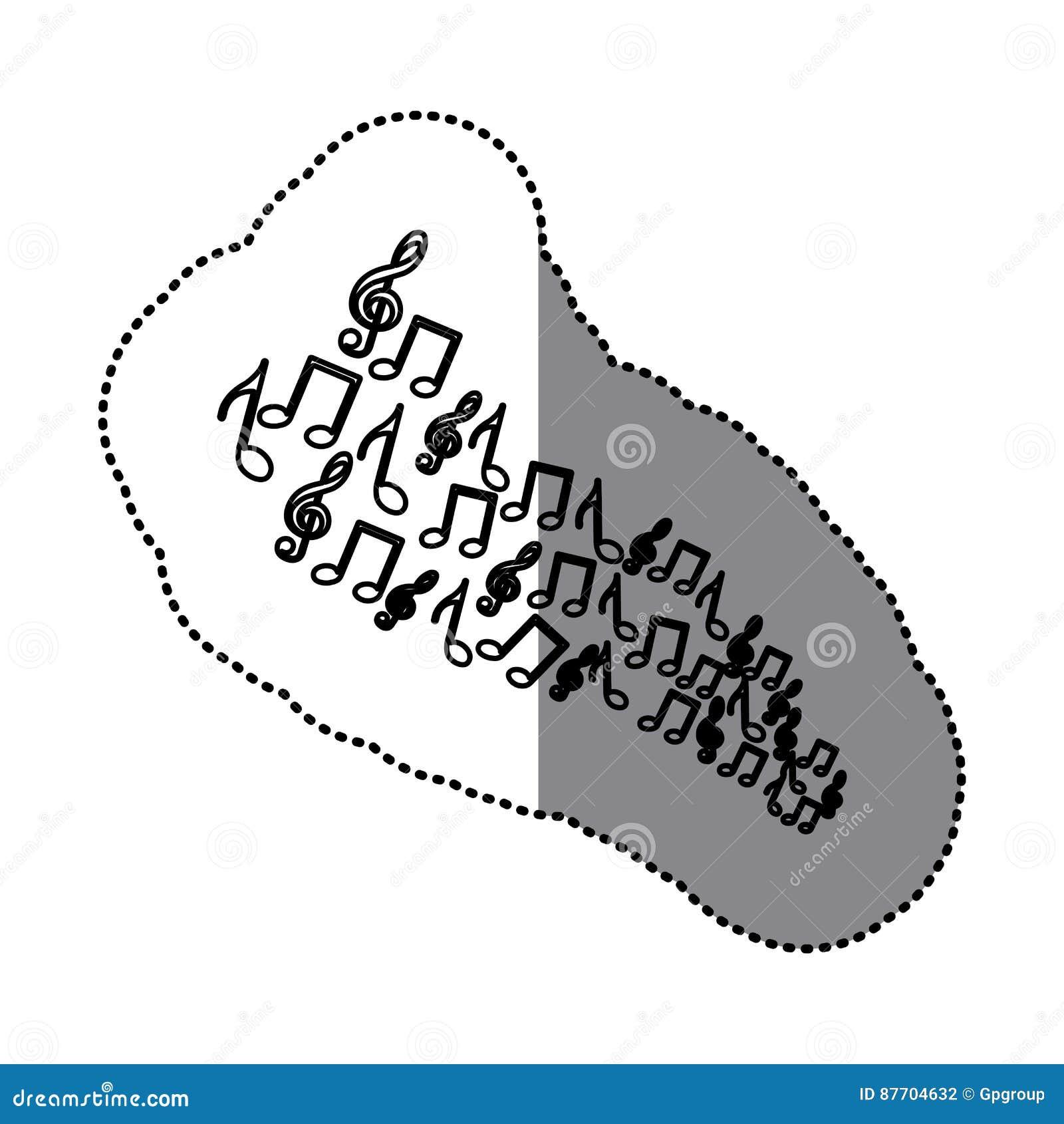 Icônes réglées de notes musicales de silhouette d autocollant