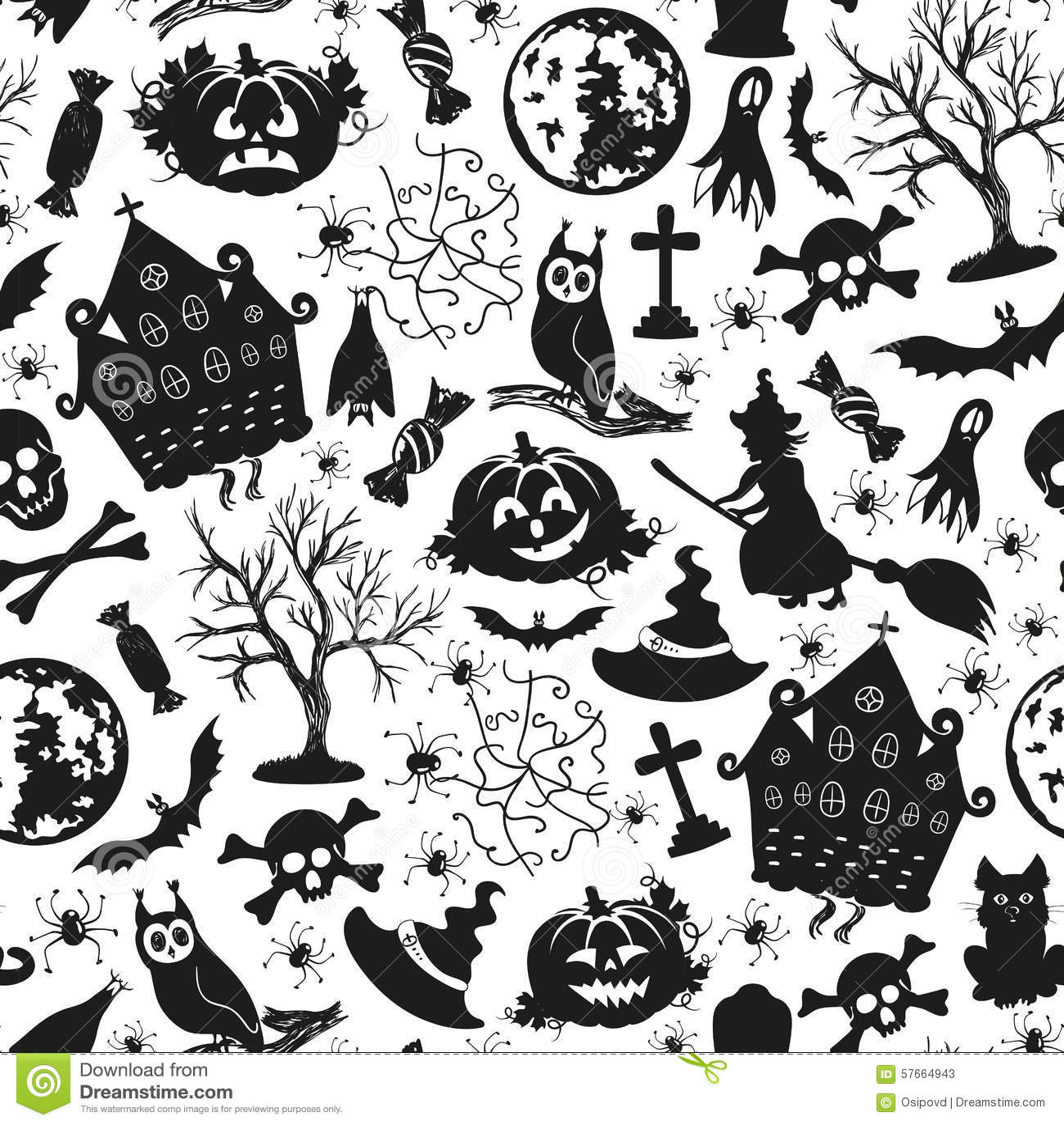 Ic nes sans couture de dessin pour halloween illustration de vecteur illustration du nuit - Dessin pour halloween ...