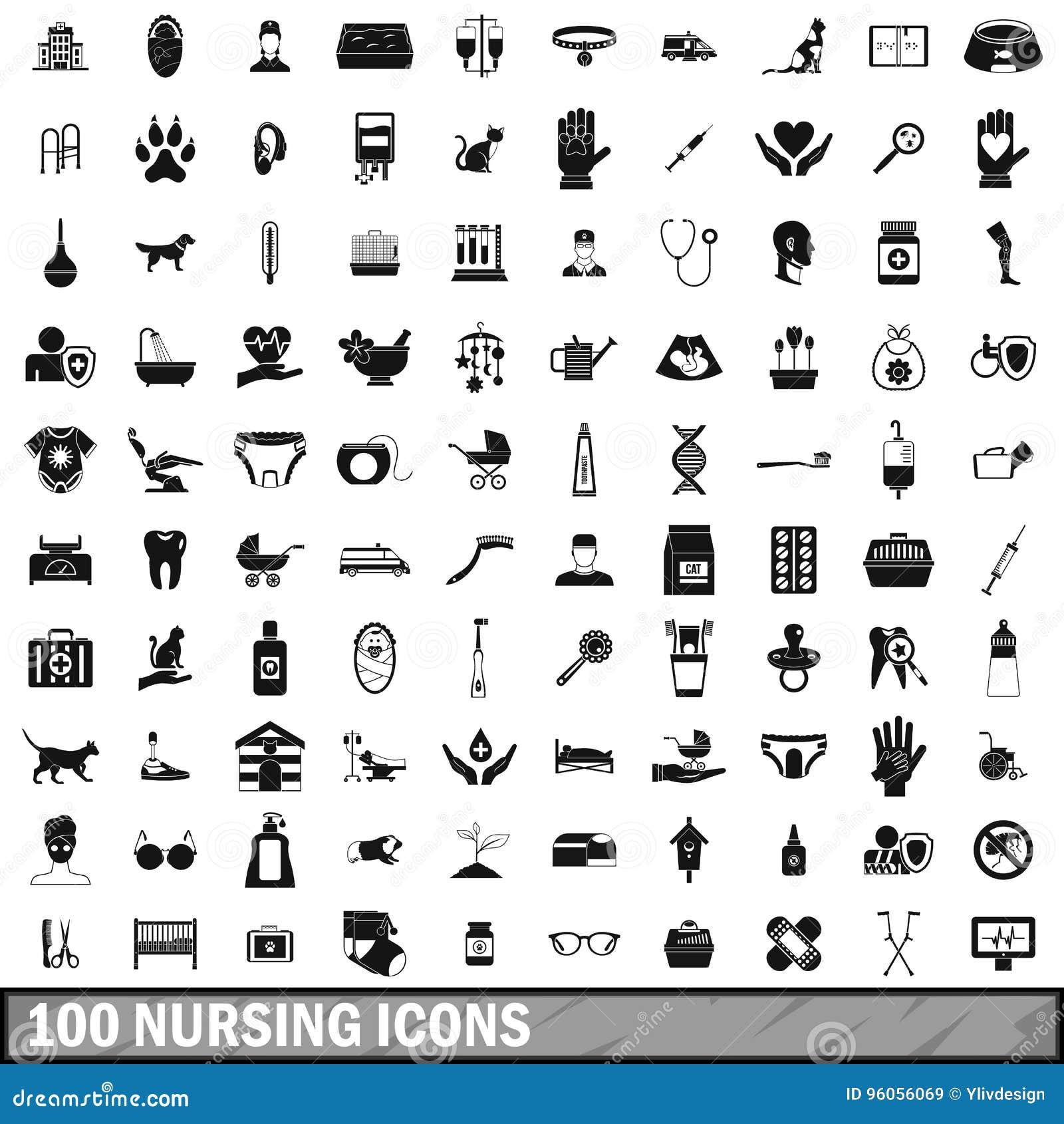 100 icônes soignantes réglées, style simple