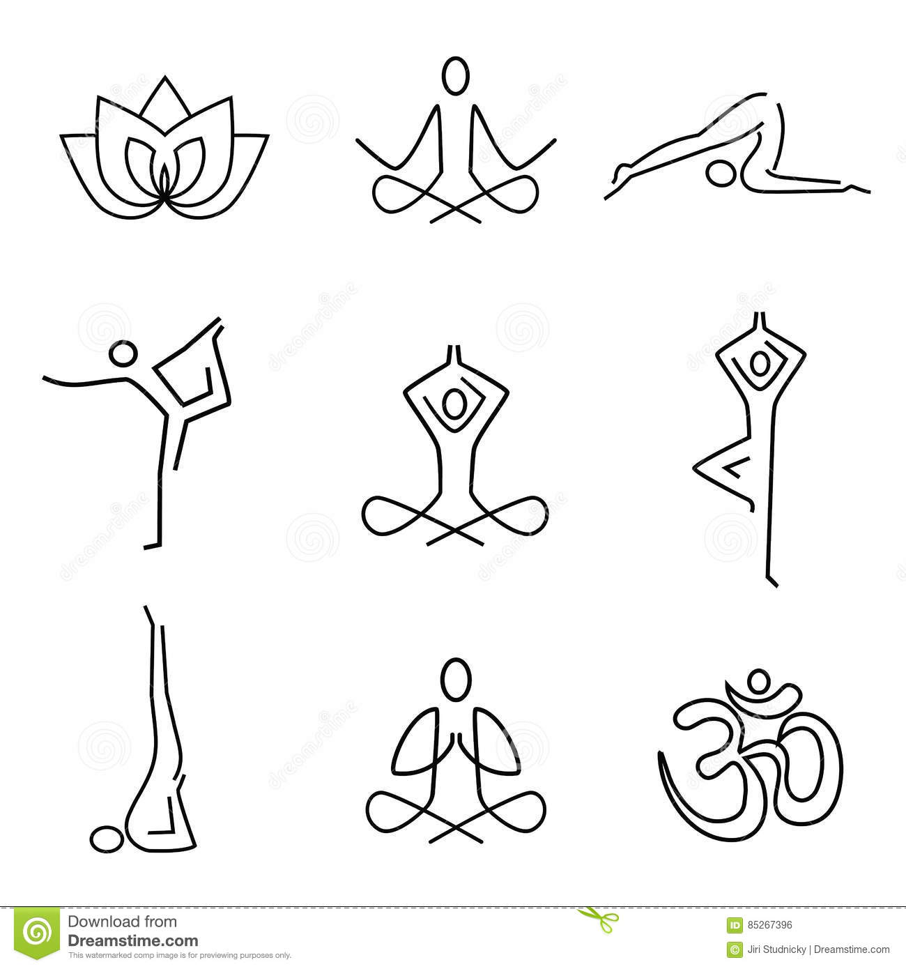 Line Drawing Yoga Pose : Icônes yoga de schéma illustration vecteur image