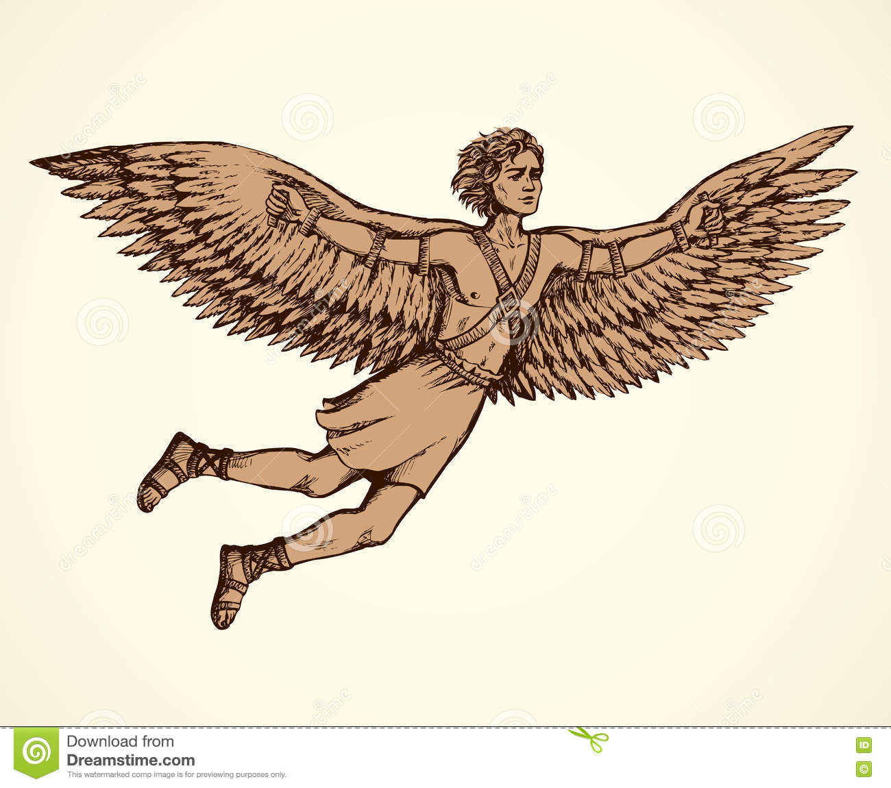 Icarus, Character Of Ancient Greek Legend. Vector Drawing ...